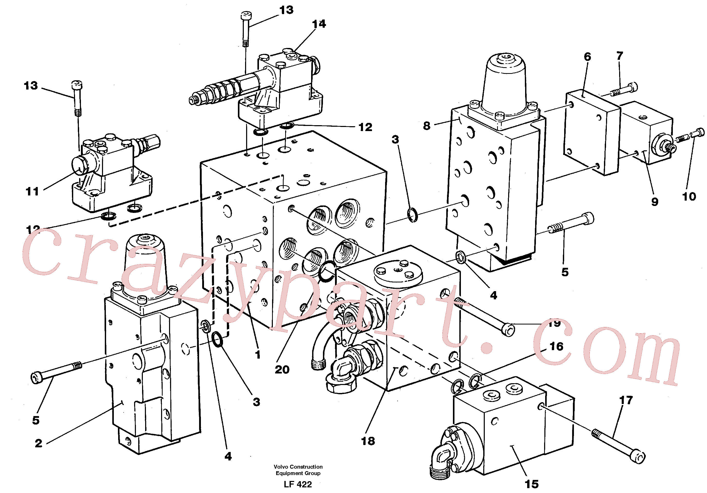 VOE14254552 for Volvo Slew valve assembly Valves(LF422 assembly)