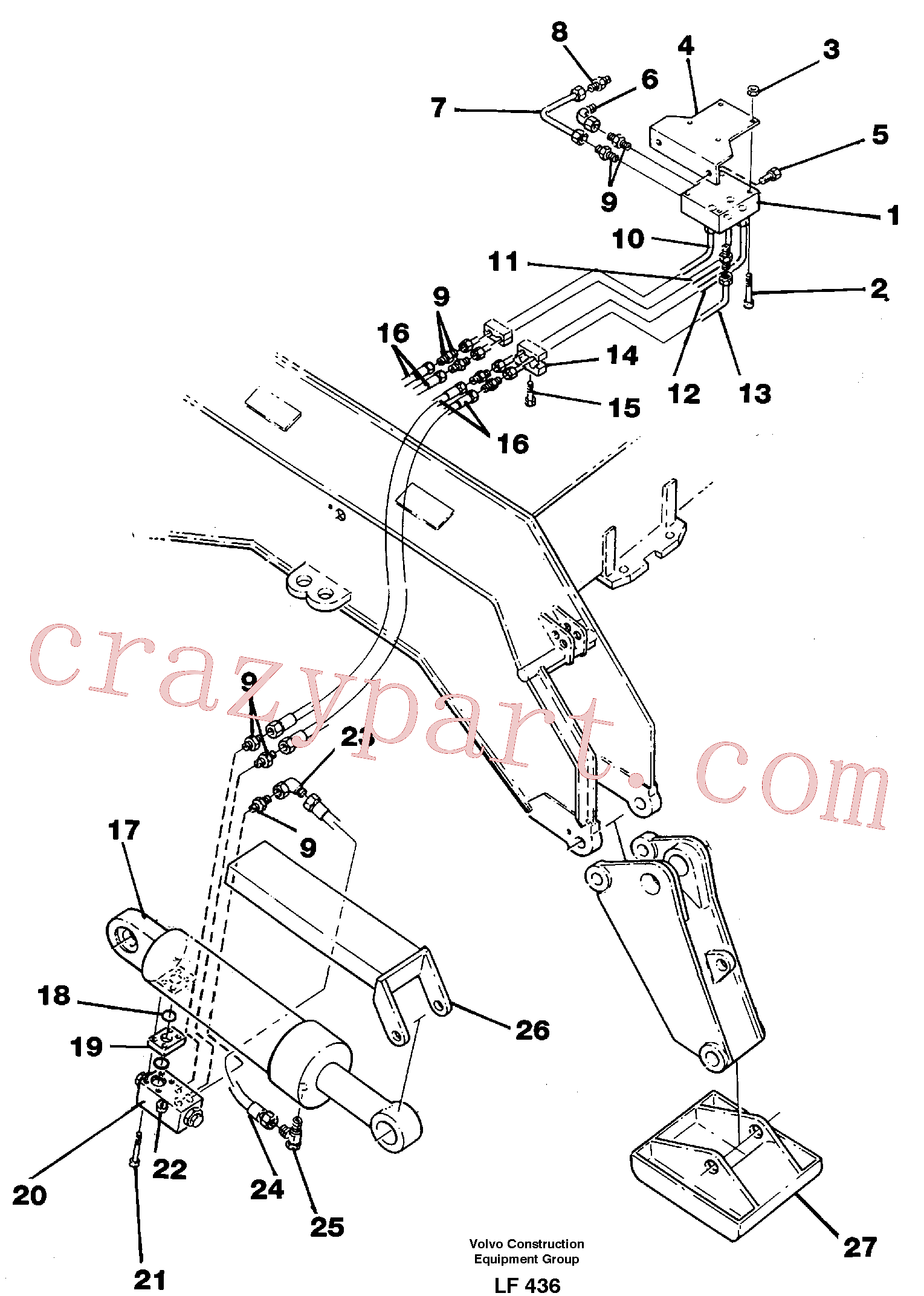VOE14238107 for Volvo Hydraulic system, outriggers with articu- lated plates.(LF436 assembly)
