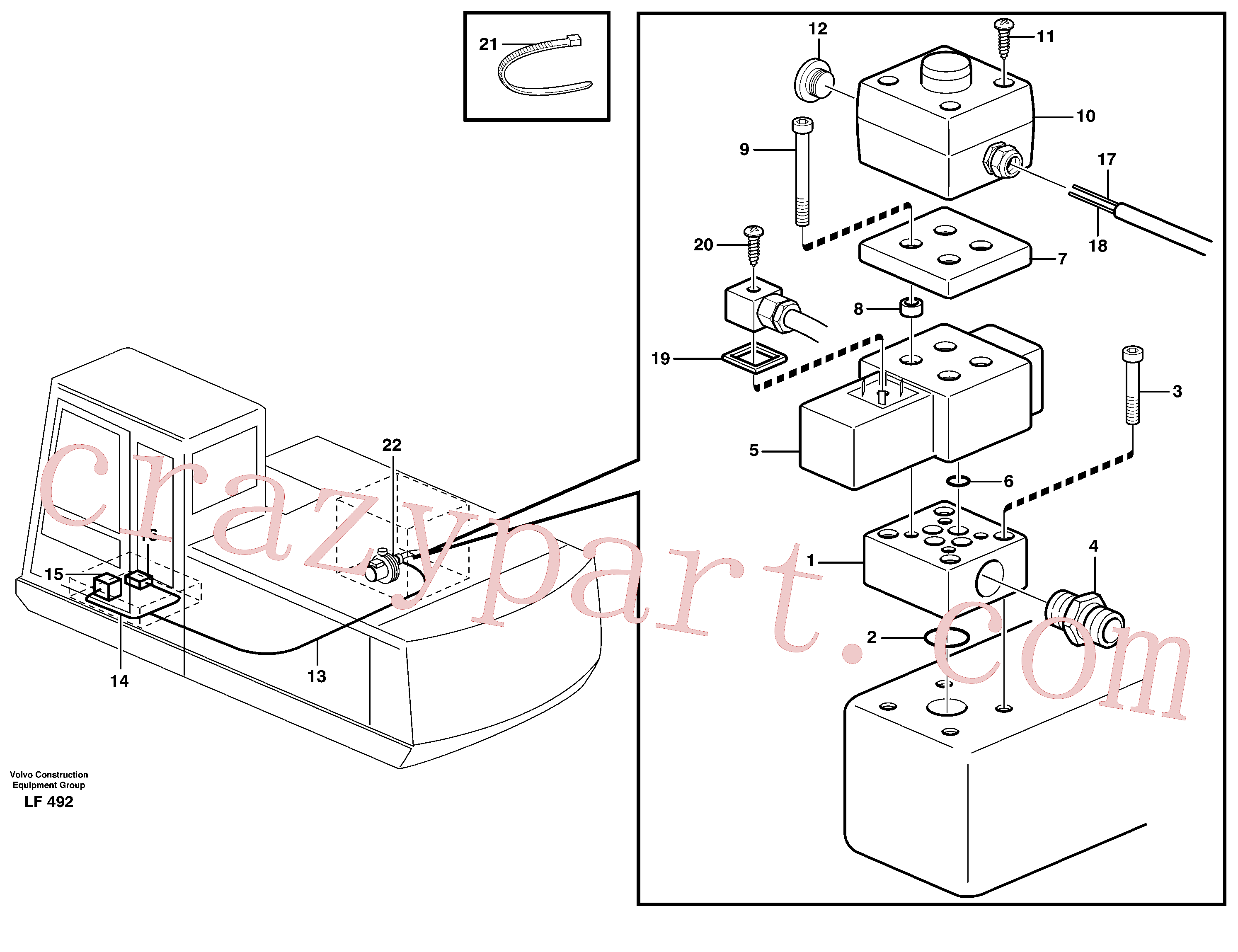 VOE14259409 for Volvo Overfilling guard(LF492 assembly)
