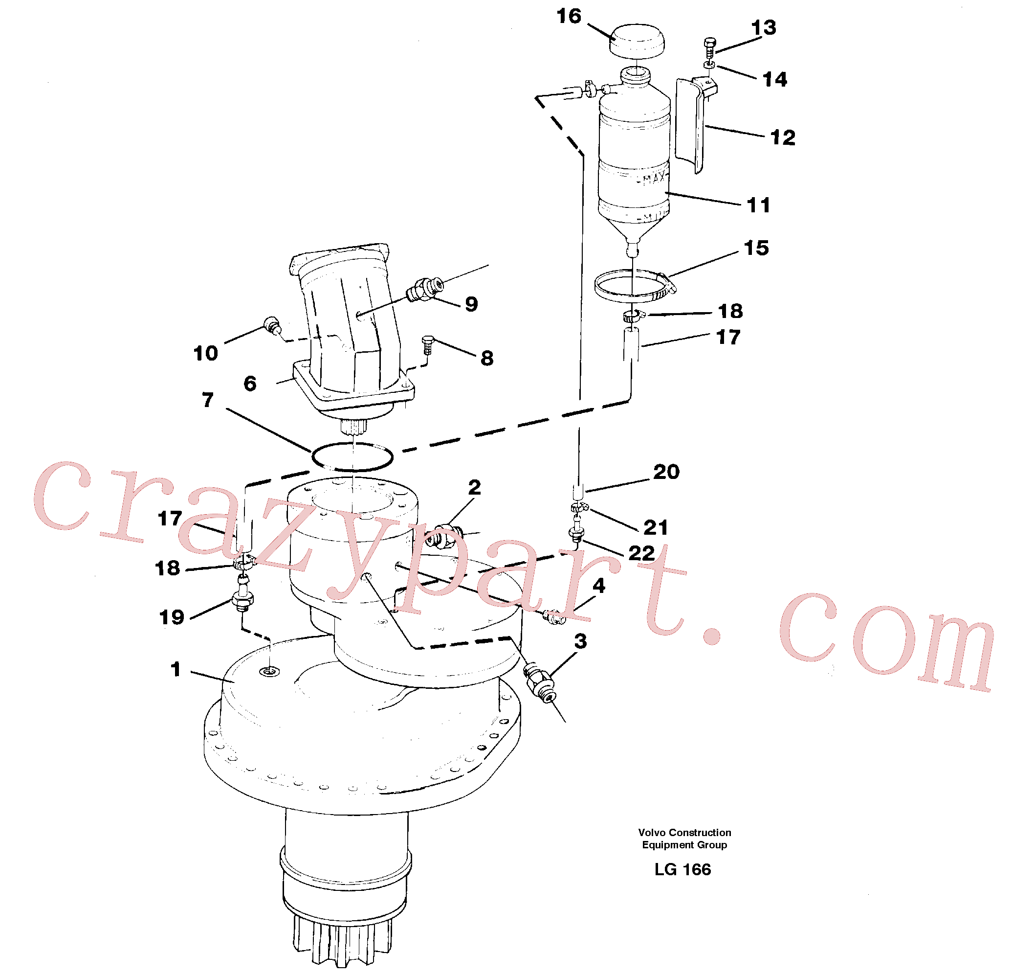 VOE14012414 for Volvo Slewing gear box, compl.(LG166 assembly)