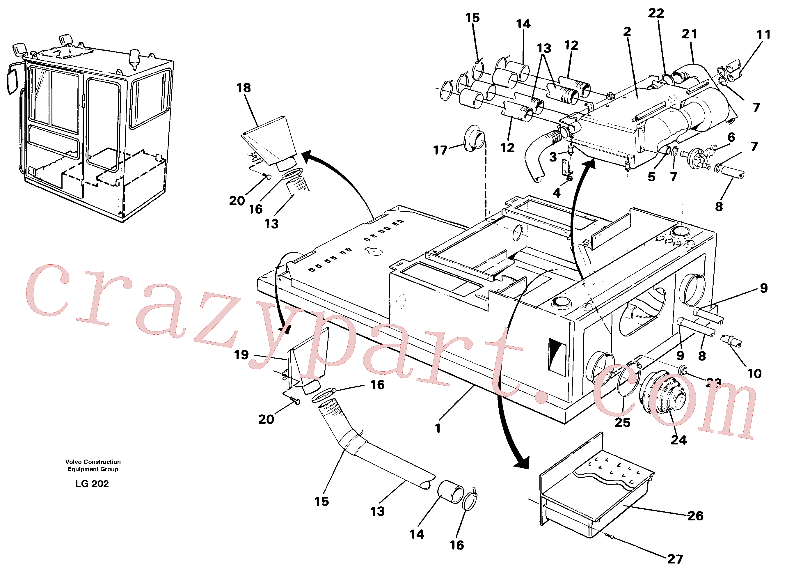 VOE14055046 for Volvo Cab heater with fitting parts(LG202 assembly)
