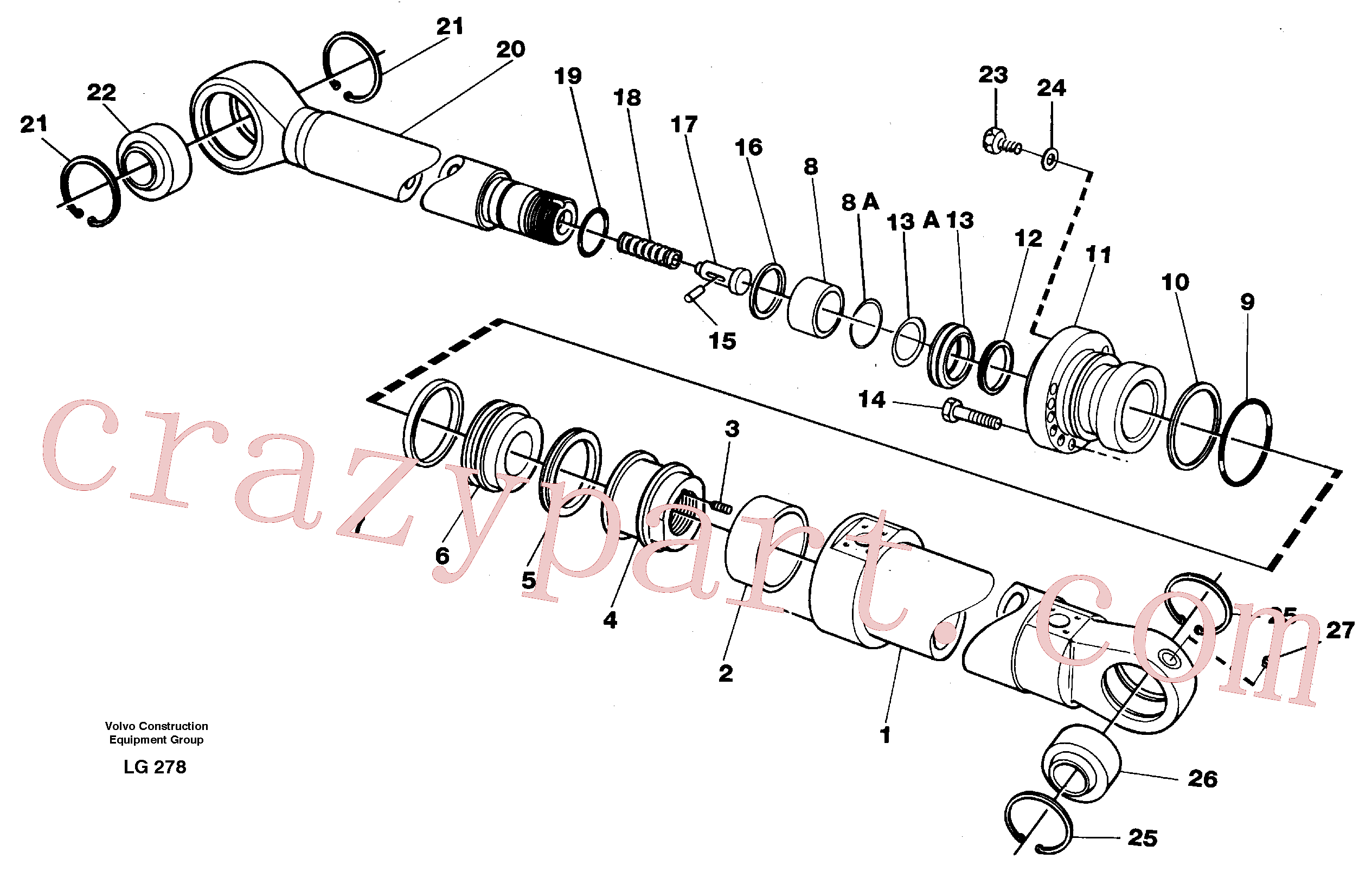 VOE14345818 for Volvo Bucket cylinder(LG278 assembly)