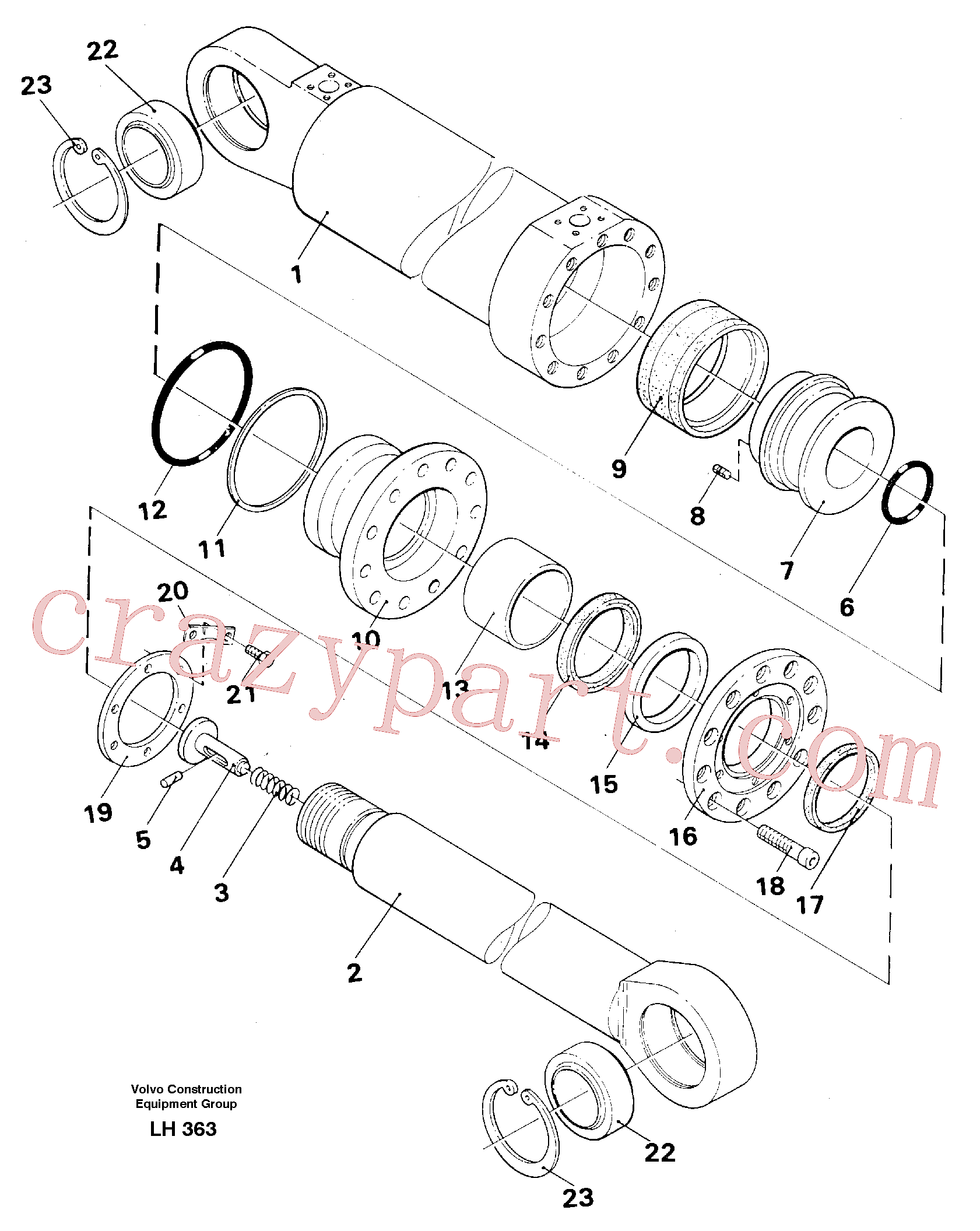 VOE14235919 for Volvo Outrigger cylinder(LH363 assembly)