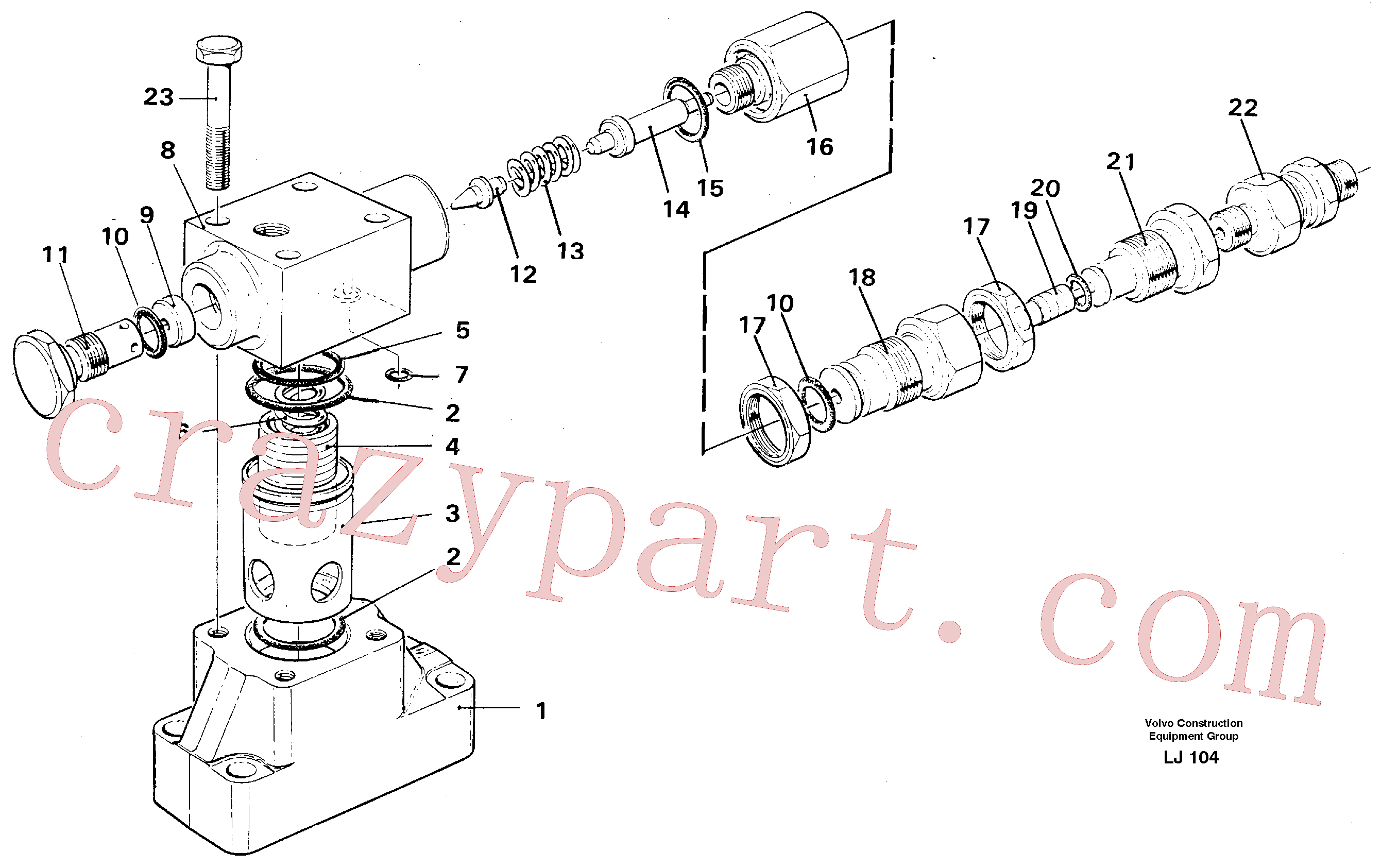 VOE14210587 for Volvo Pressure limiting valve(LJ104 assembly)