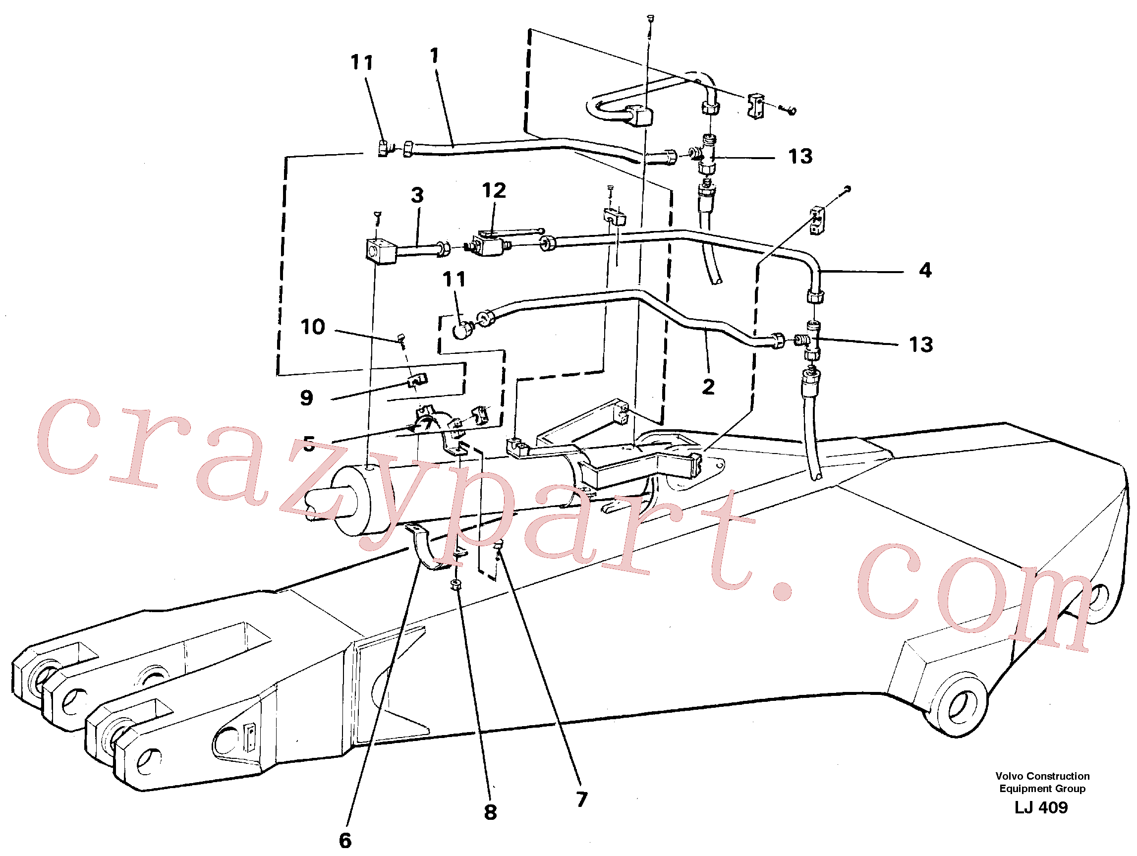 VOE14254935 for Volvo Parallel connected grab hydraulics on dipper arm.(LJ409 assembly)