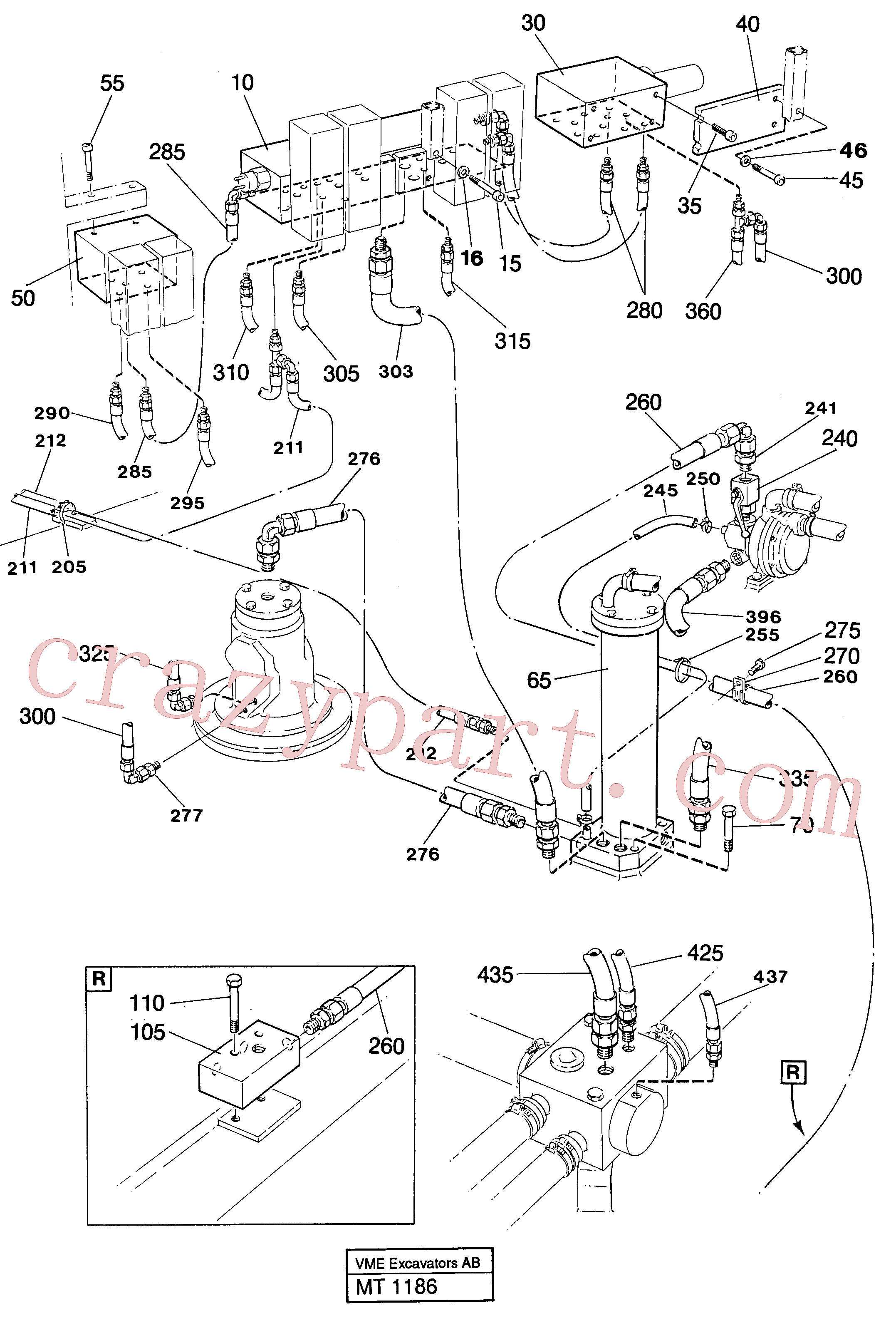 VOE14246022 for Volvo Lines in valve compartment(MT1186 assembly)