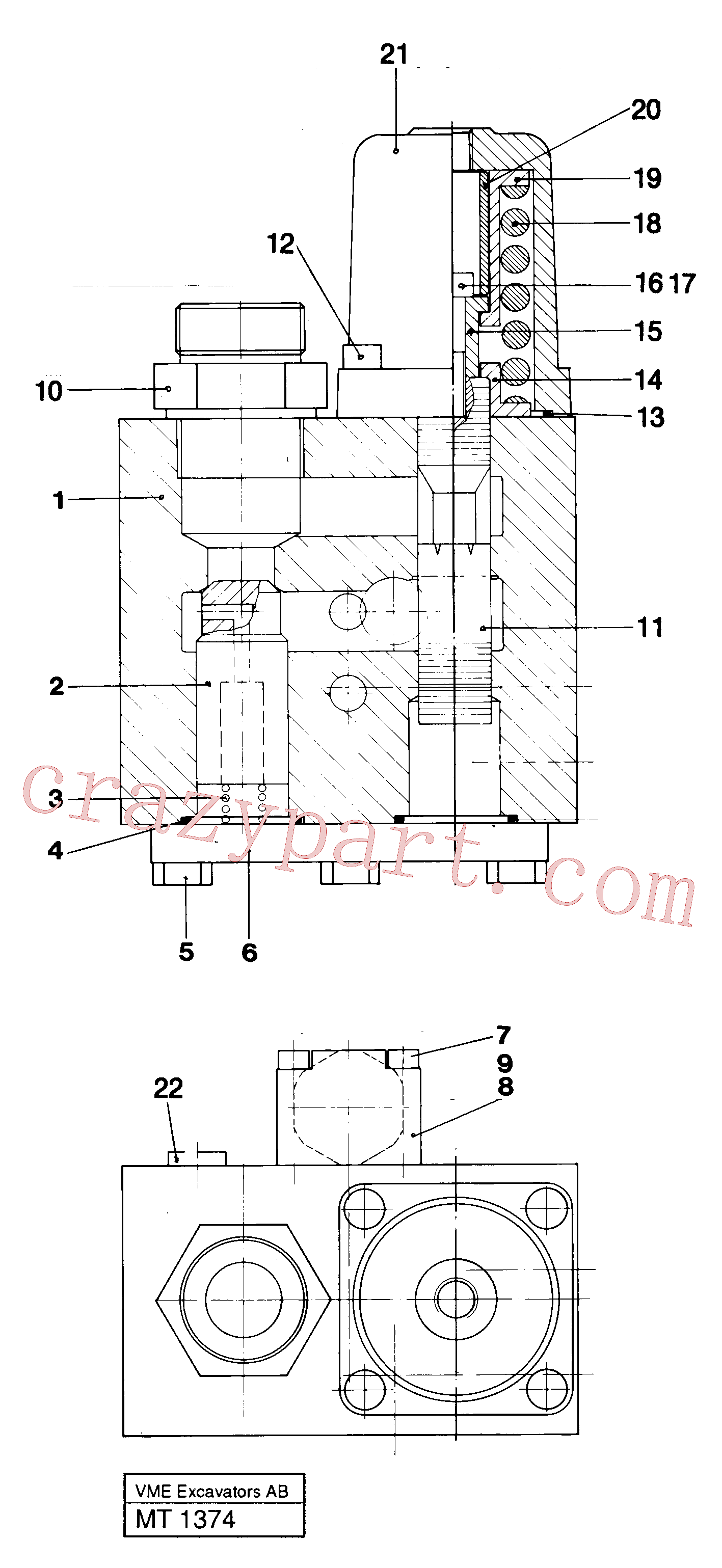 VOE14242160 for Volvo Hose rupture valve(MT1374 assembly)