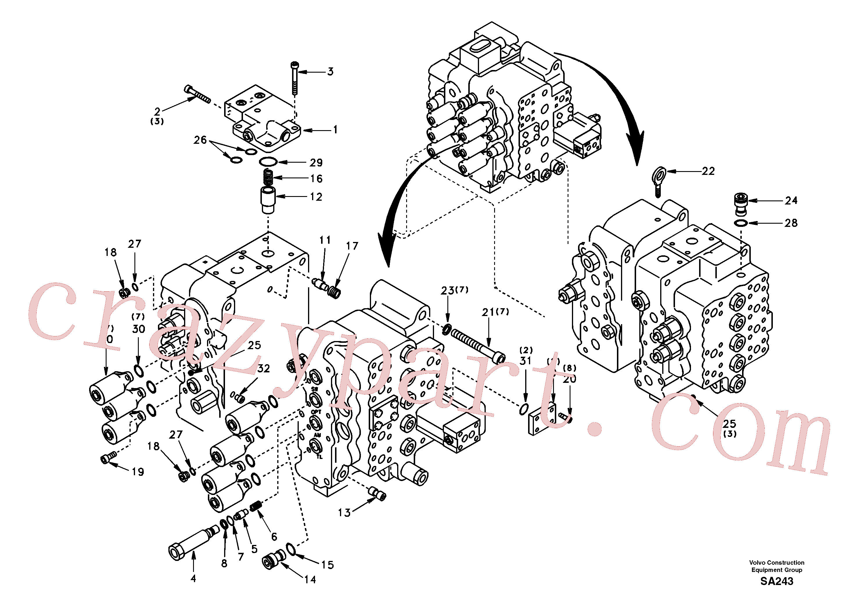 SA7273-10340 for Volvo Control valve with fitting parts.(SA243 assembly)