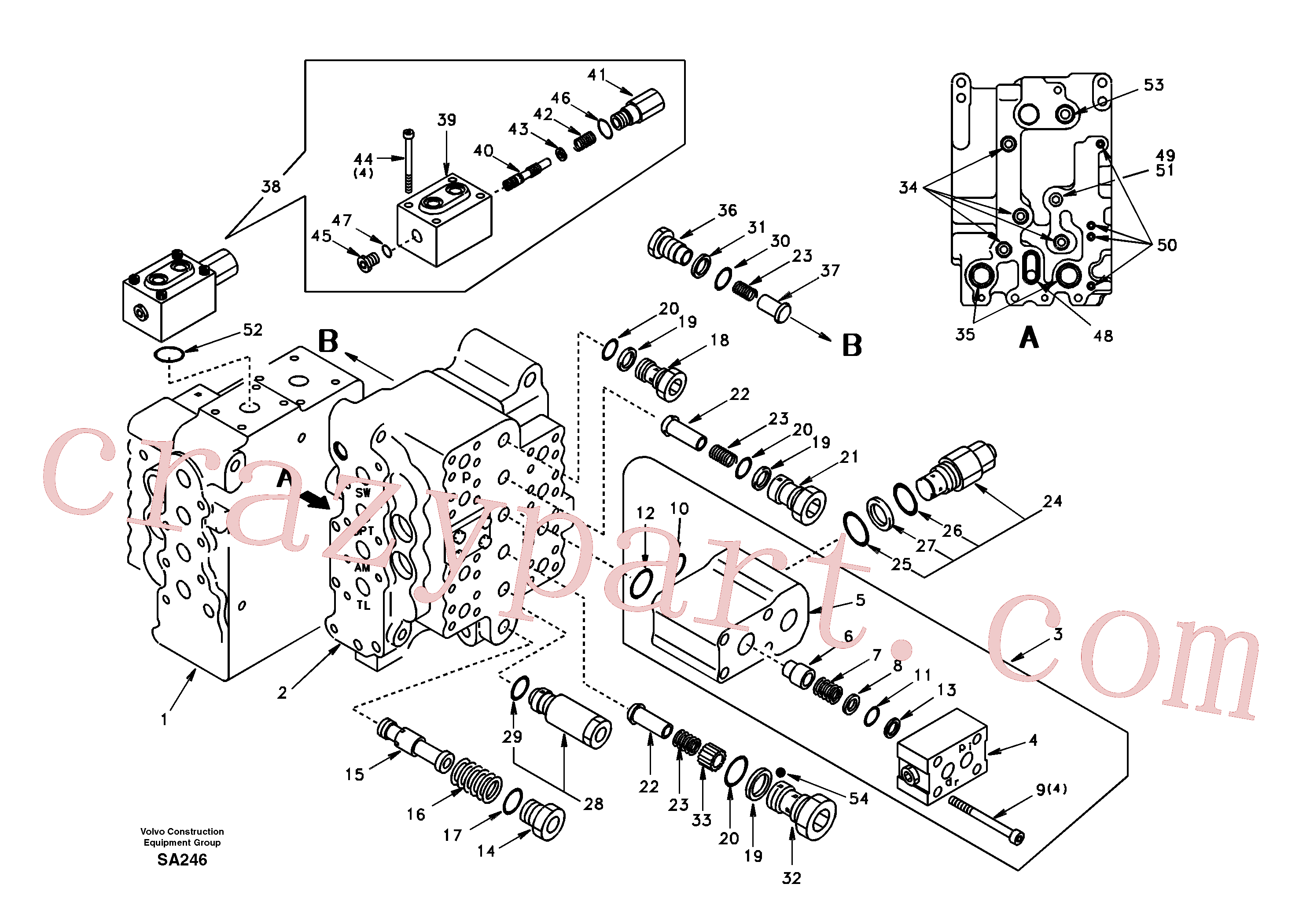 SA7271-11030 for Volvo Main control valve, relief valve and dipper arm holding(SA246 assembly)