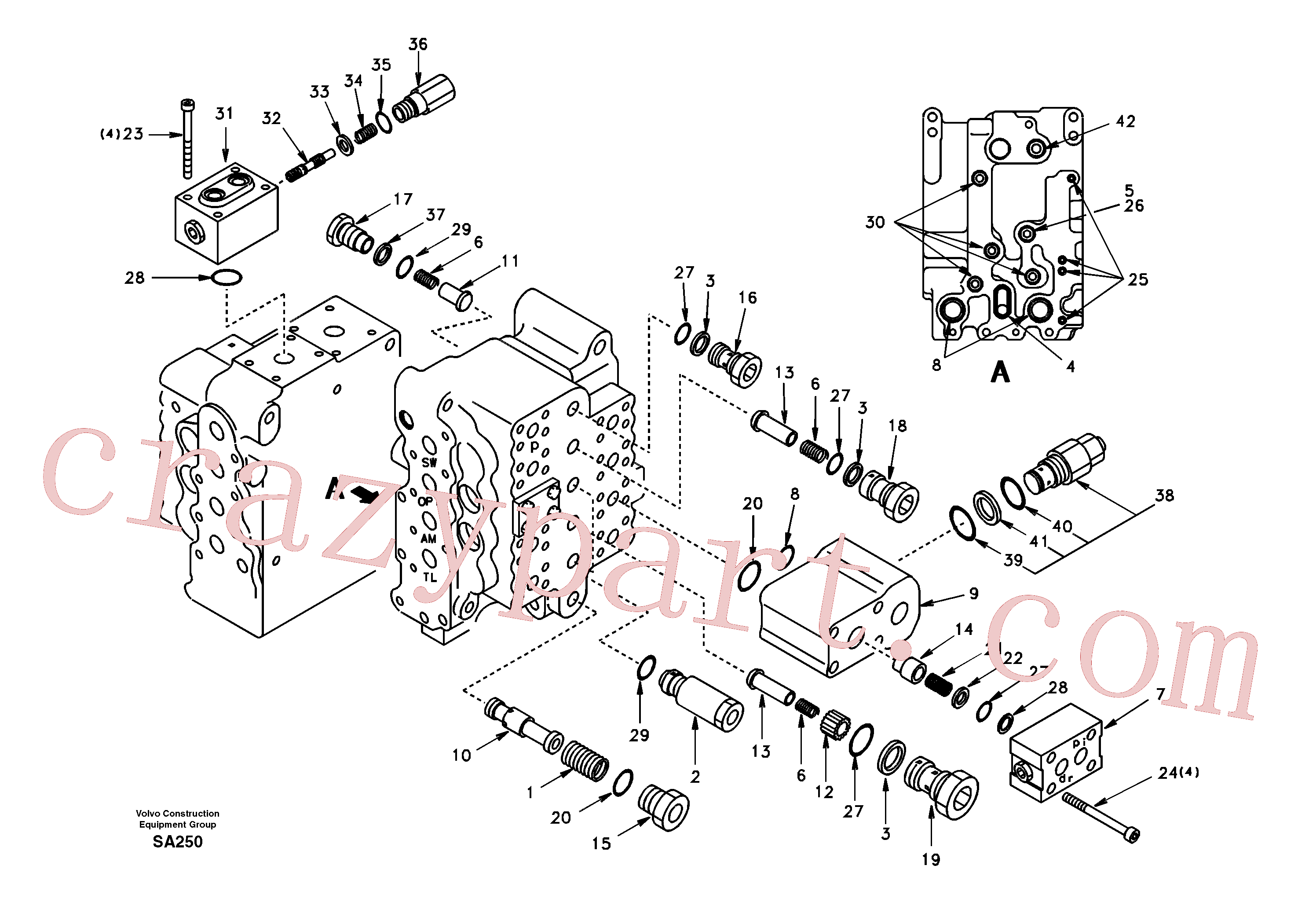 SA8230-11890 for Volvo Main control valve, relief valve and dipper arm holding(SA250 assembly)