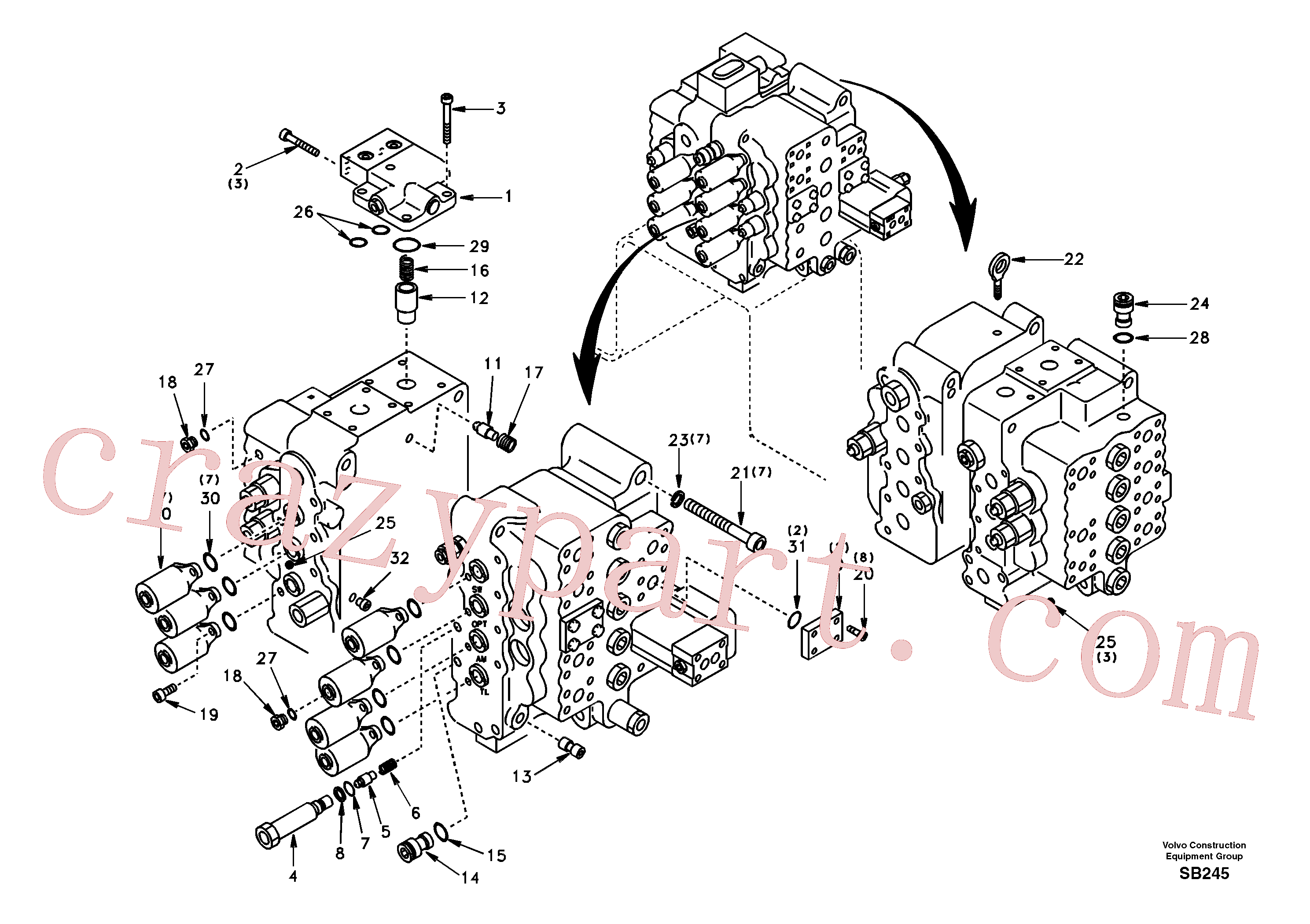 SA7273-10340 for Volvo Control valve with fitting parts.(SB245 assembly)