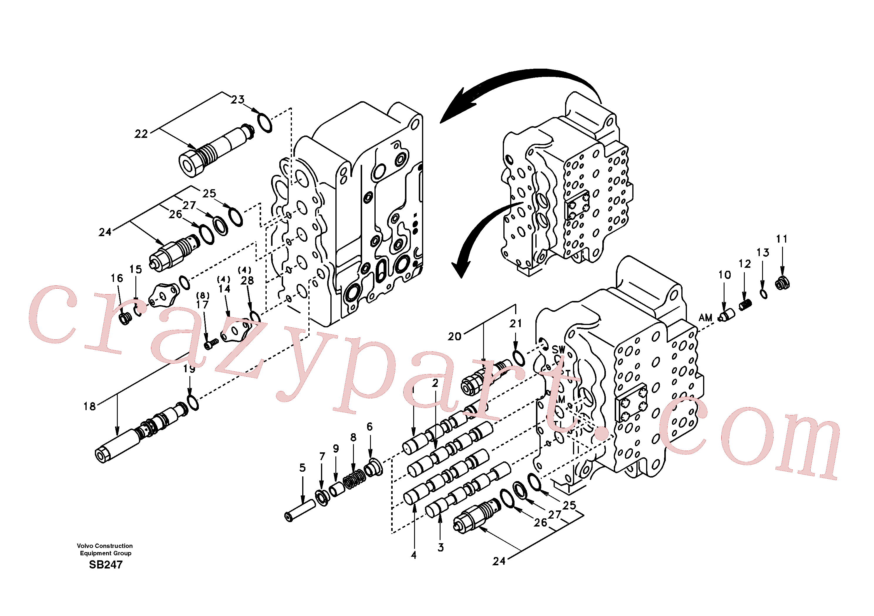SA7270-11111 for Volvo Main control valve, swing and option and dipper arm and travel Lh(SB247 assembly)