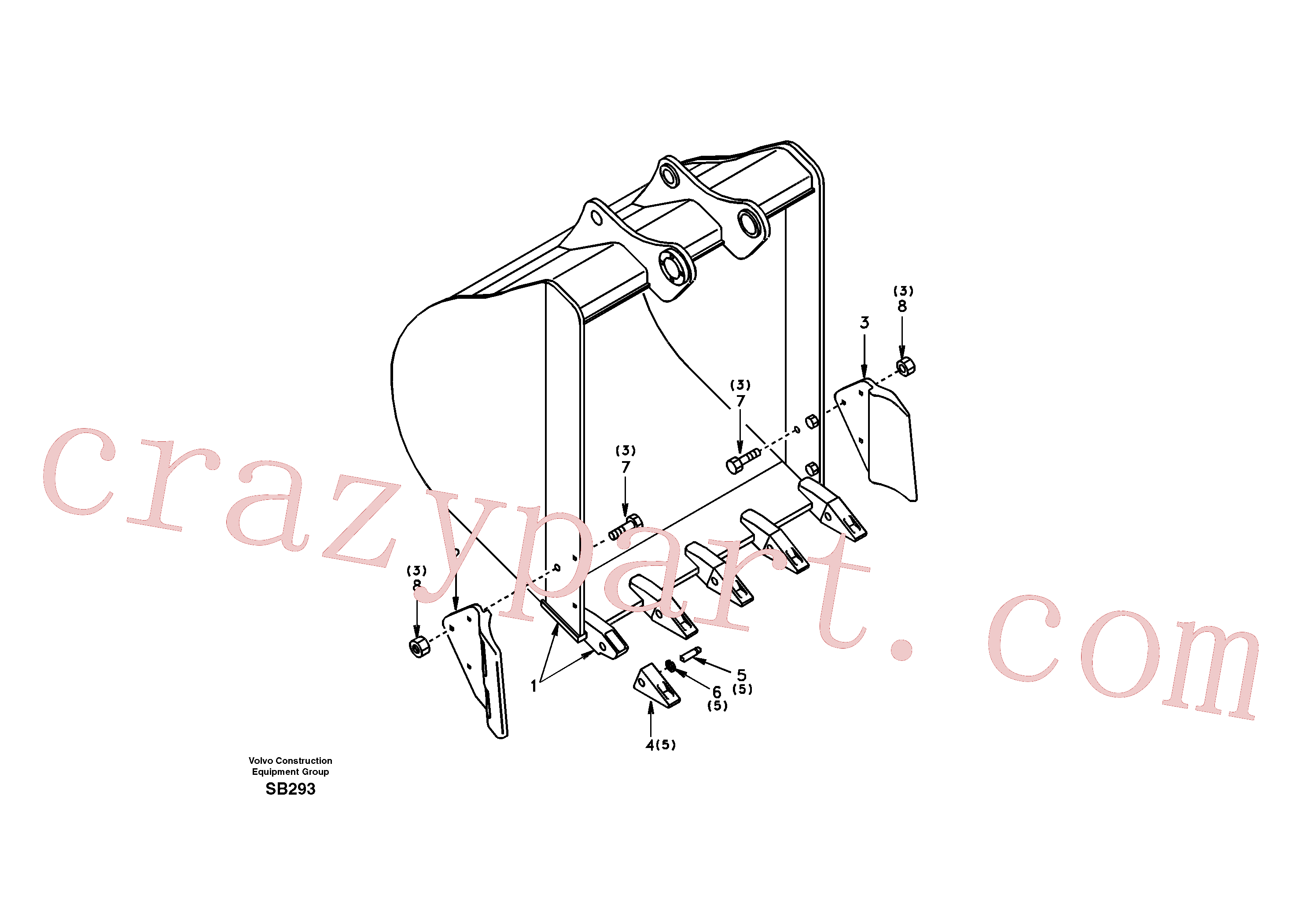 SA1171-00412 for Volvo Buckets for super long boom(SB293 assembly)