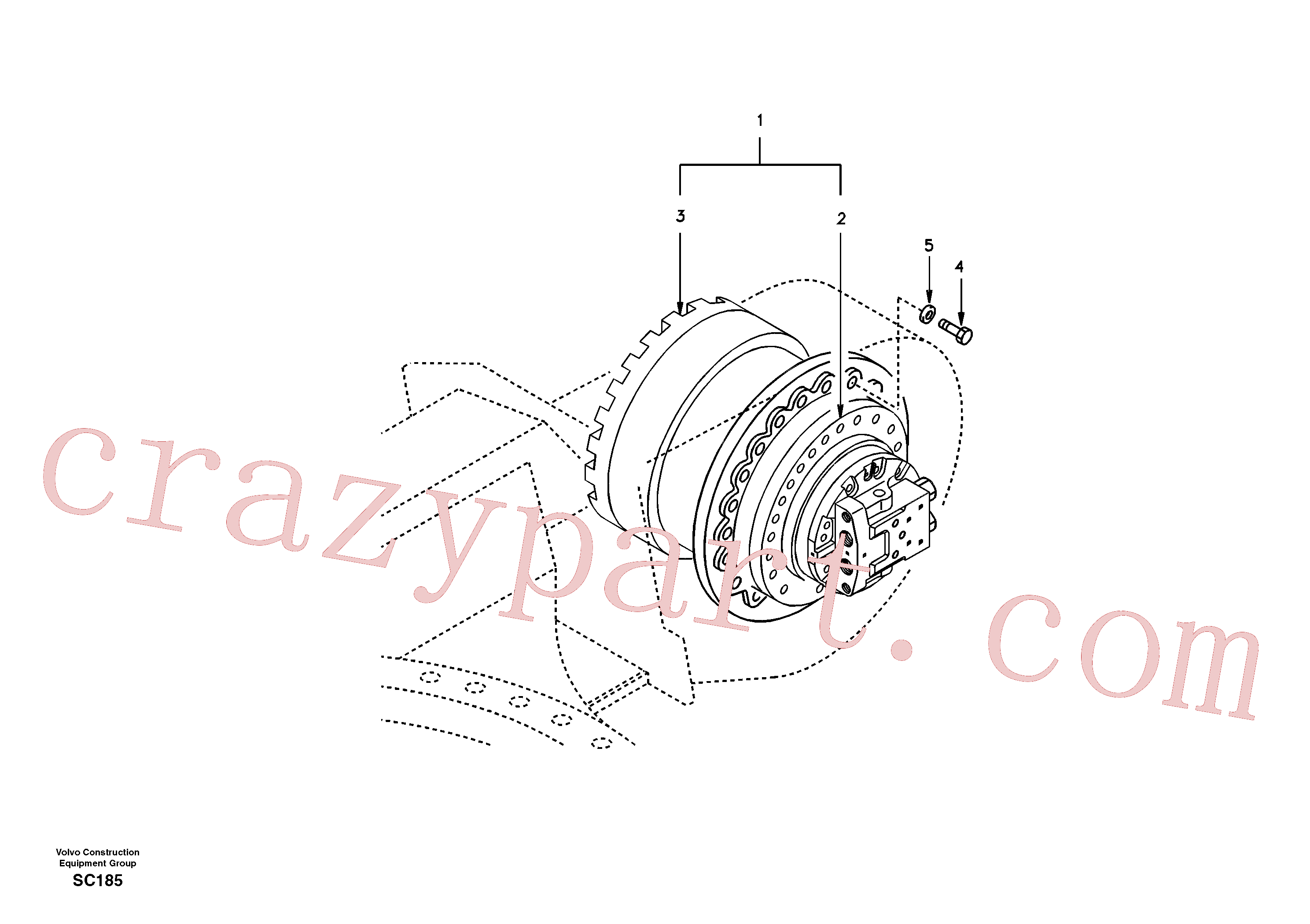 SA8230-33470 for Volvo Travel motor with mounting parts(SC185 assembly)
