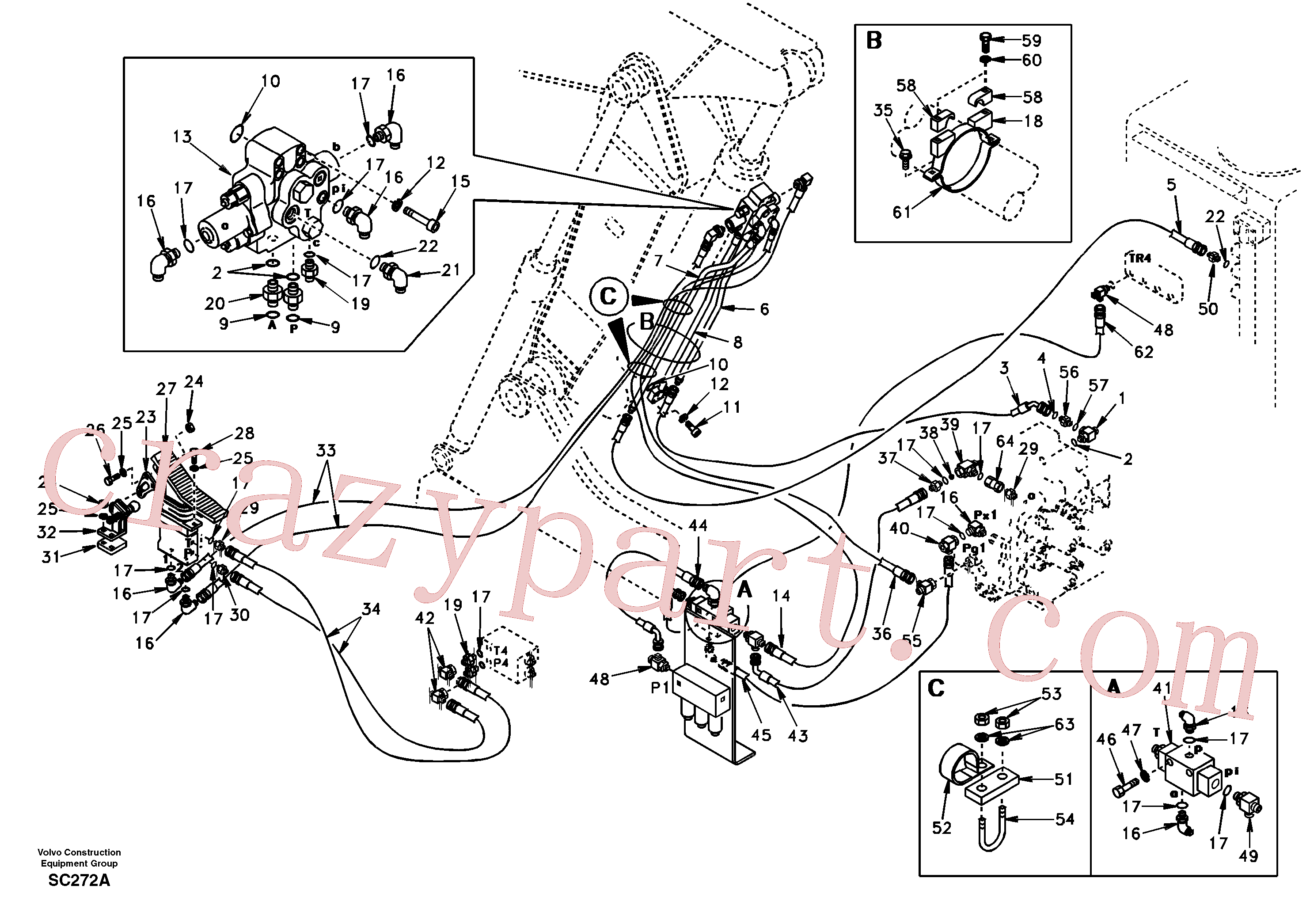 SA9411-96230 for Volvo Working hydraulic, adjustable boom for upper(SC272A assembly)
