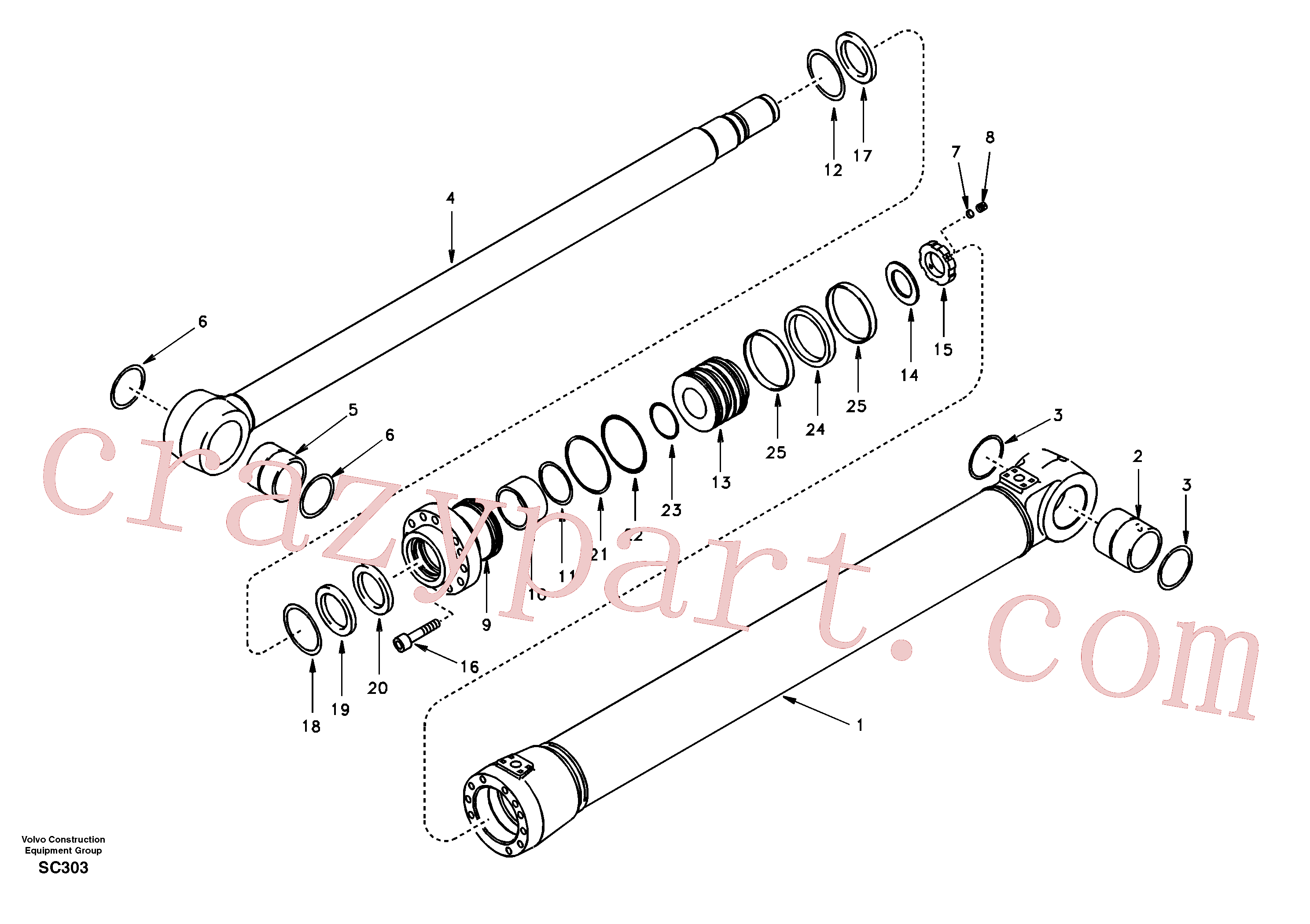 SA1146-04930 for Volvo Boom cylinder 2nd boom(SC303 assembly)