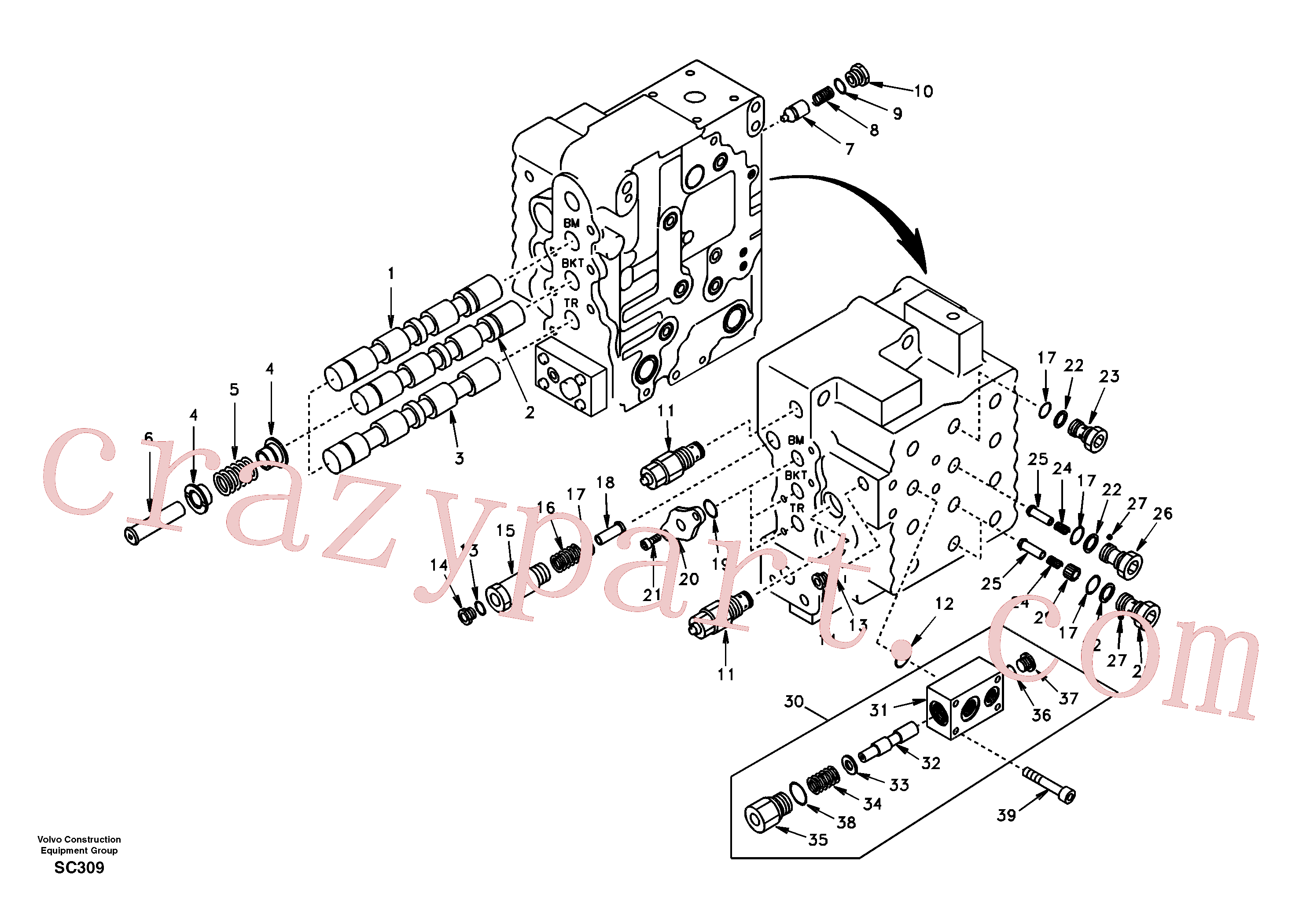 SA7273-11250 for Volvo Main control valve, boom and bucket and travel Rh(SC309 assembly)