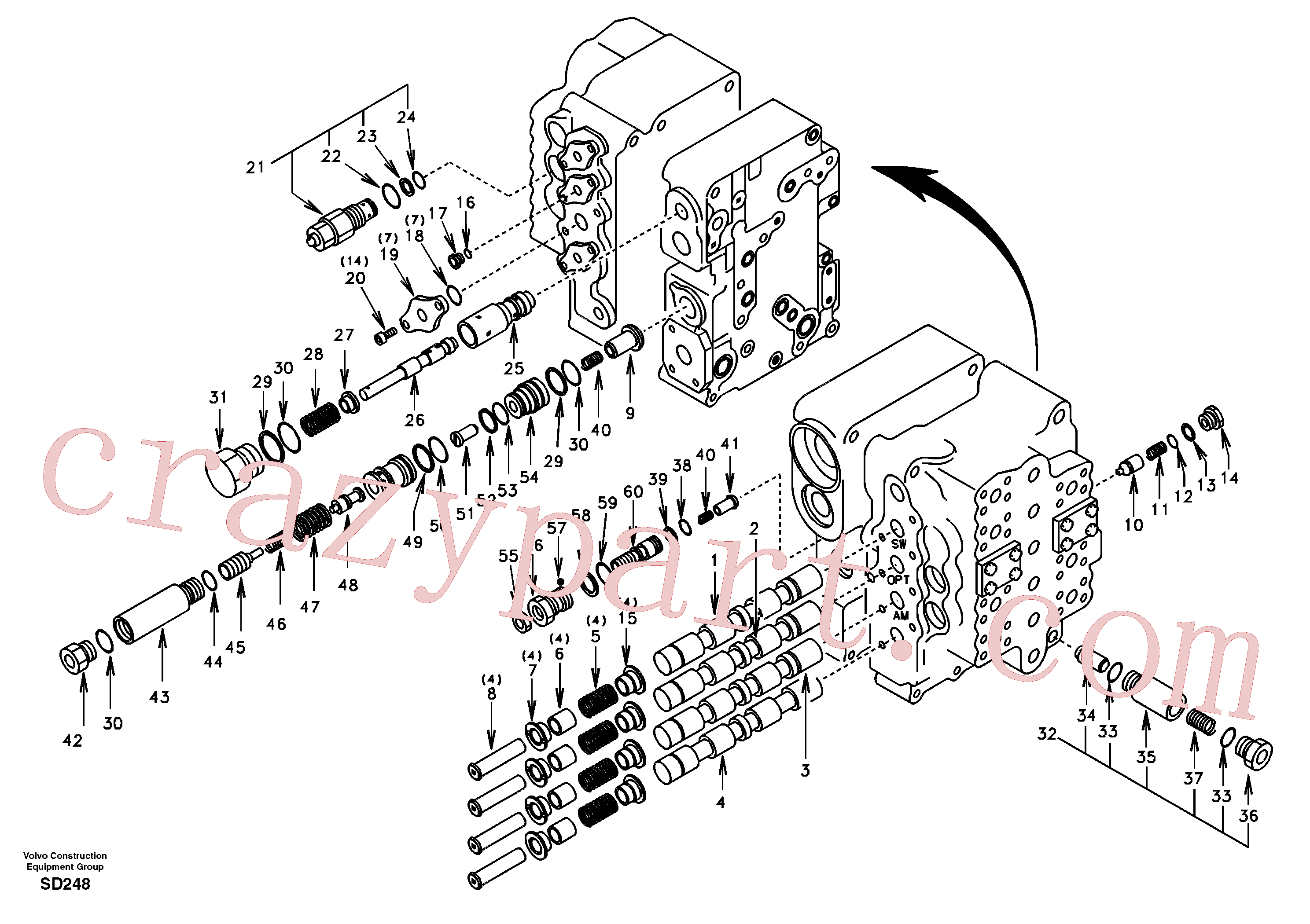 SA8230-13140 for Volvo Main control valve, swing and option and dipper arm and travel Lh(SD248 assembly)