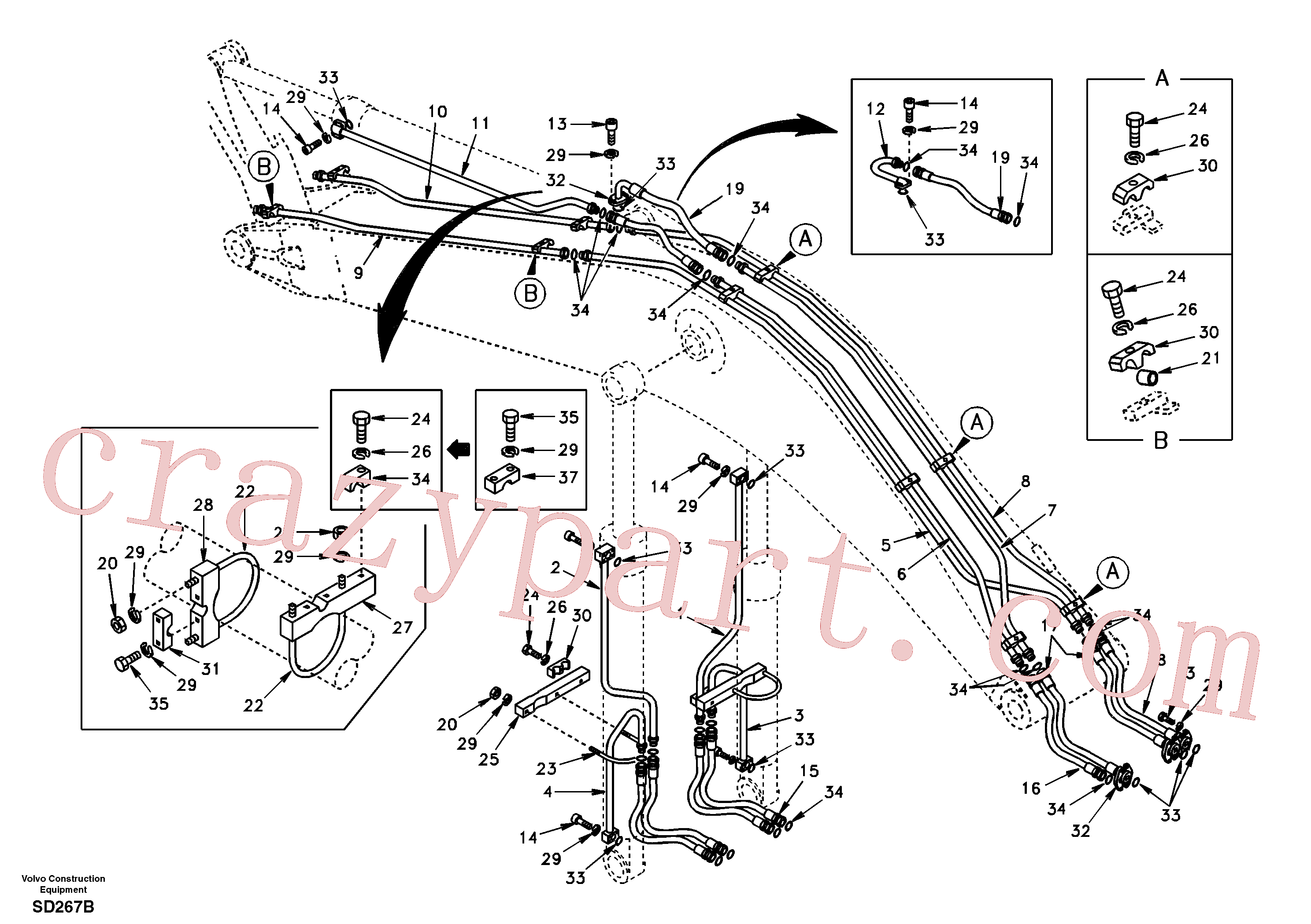 SA9401-06621 for Volvo Working hydraulic, boom(SD267B assembly)