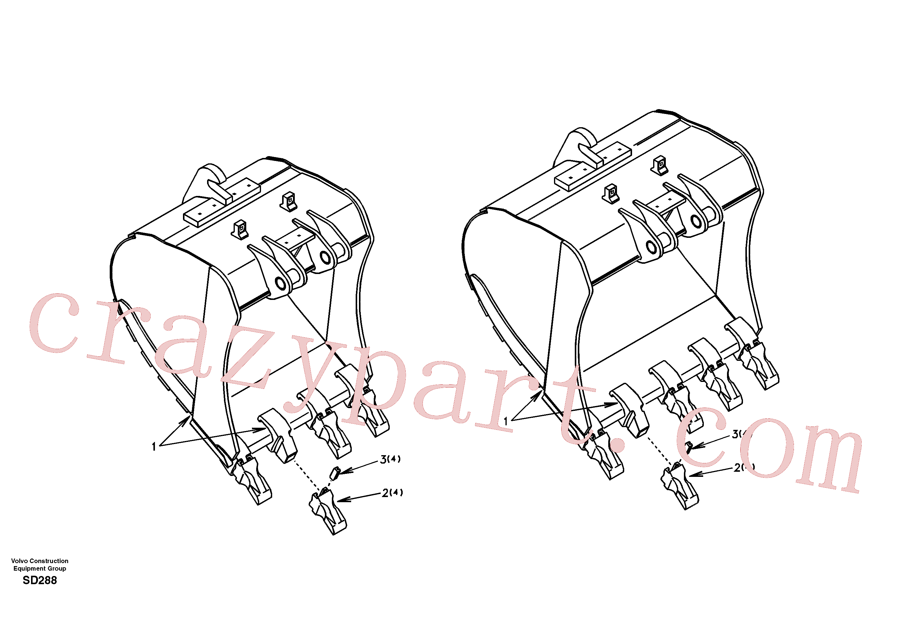 SA1171-70130 for Volvo Buckets for Quickfit(SD288 assembly)