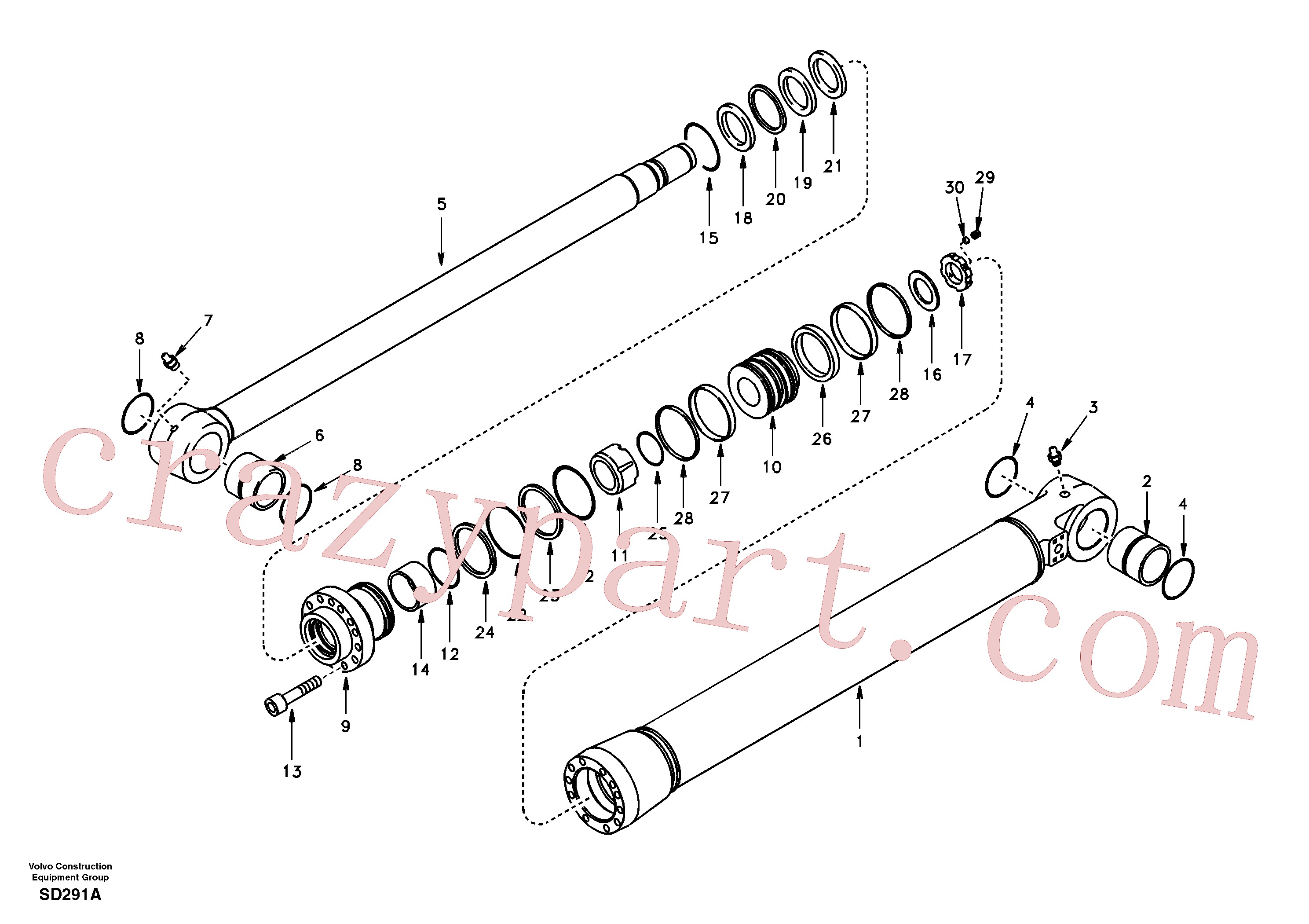 VOE14501130 for Volvo Bucket cylinder, super long boom(SD291A assembly)