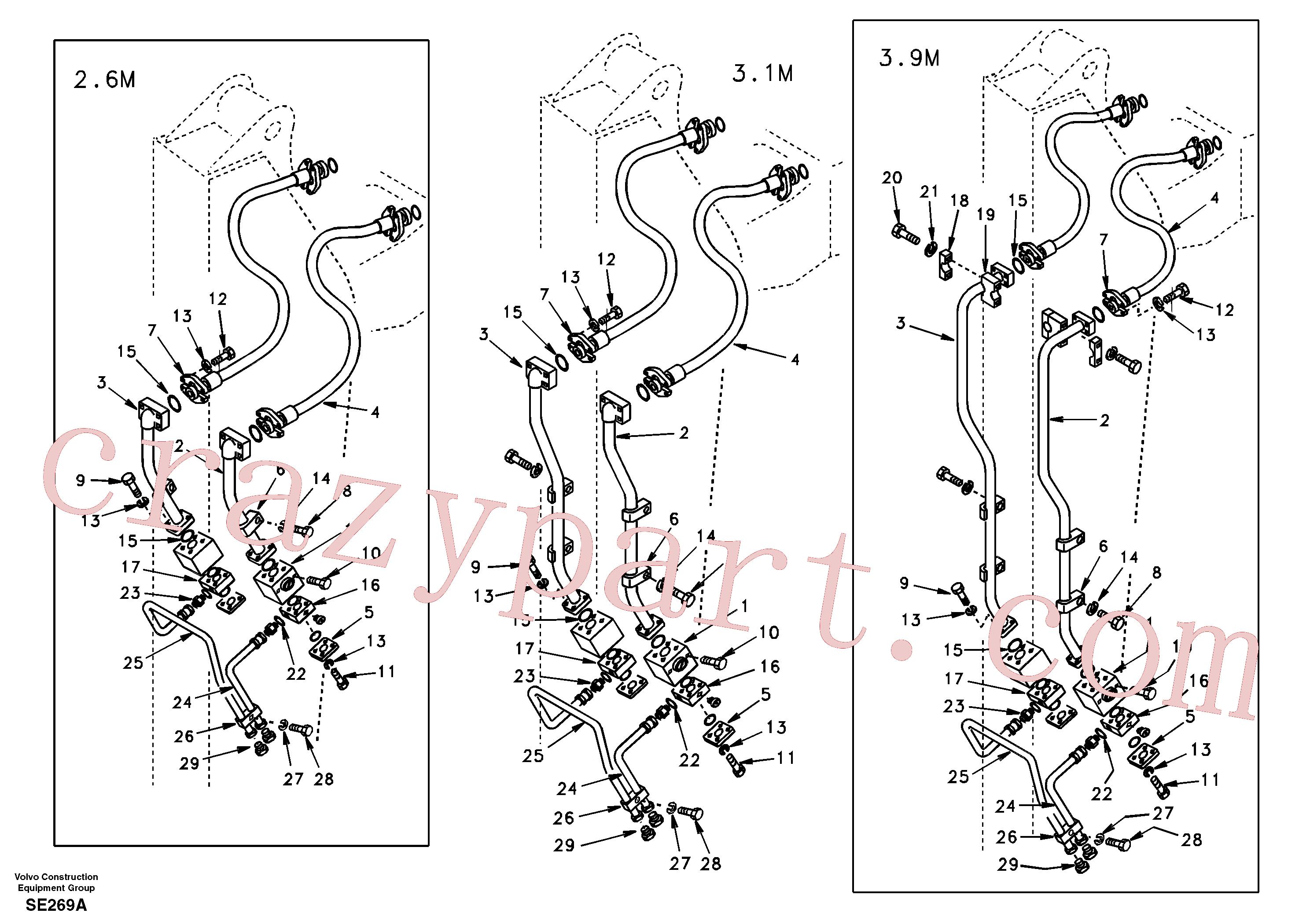 SA1174-53420 for Volvo Working hydraulic, hammer and shear for dipper arm(SE269A assembly)