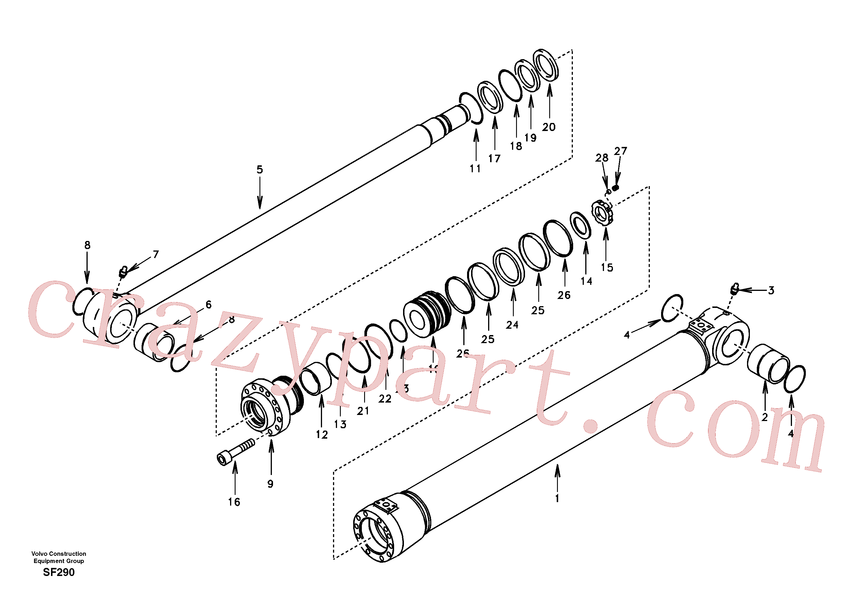 SA8148-16180 for Volvo Bucket cylinder(SF290 assembly)