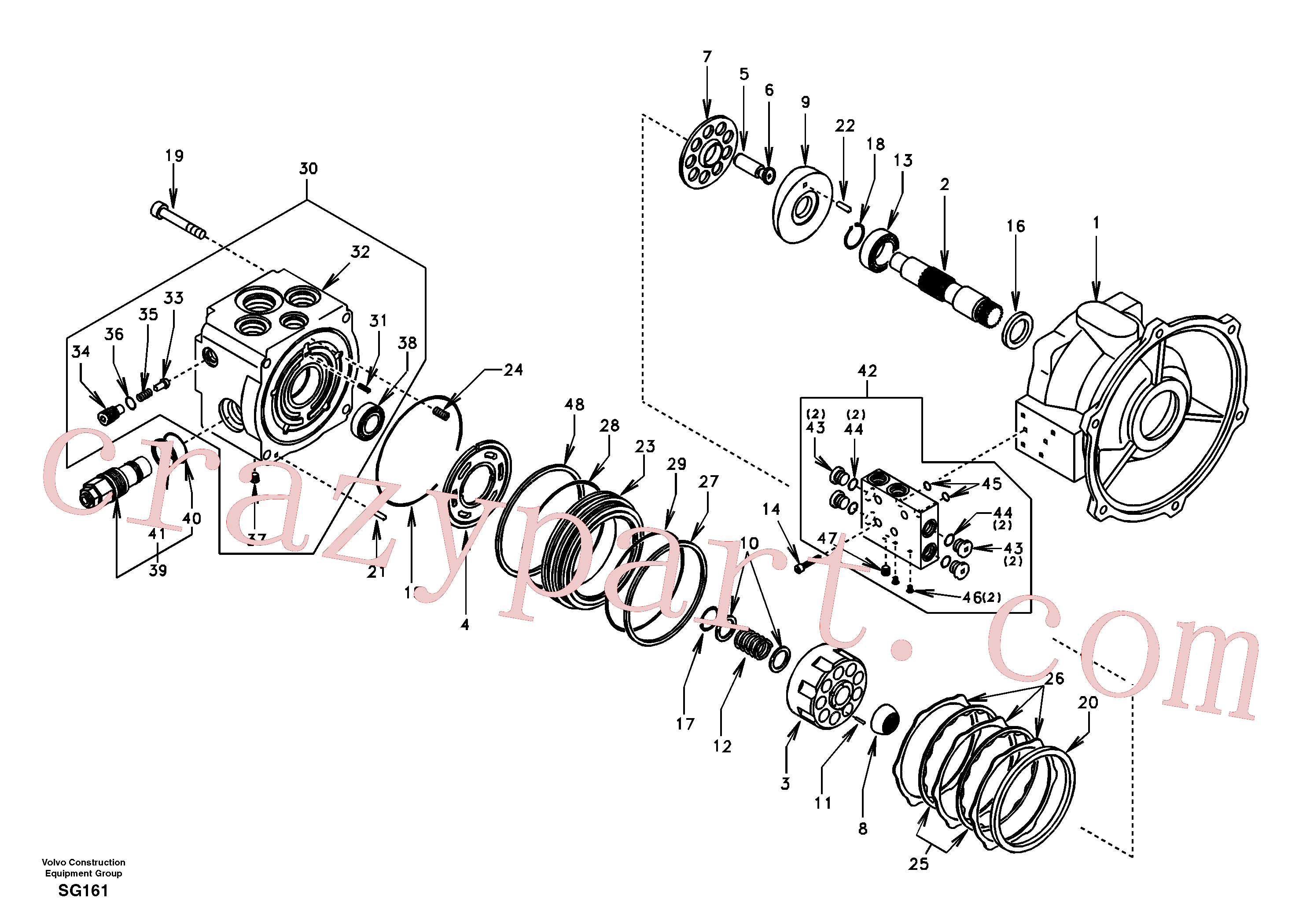 SA9511-22115 for Volvo Swing motor(SG161 assembly)