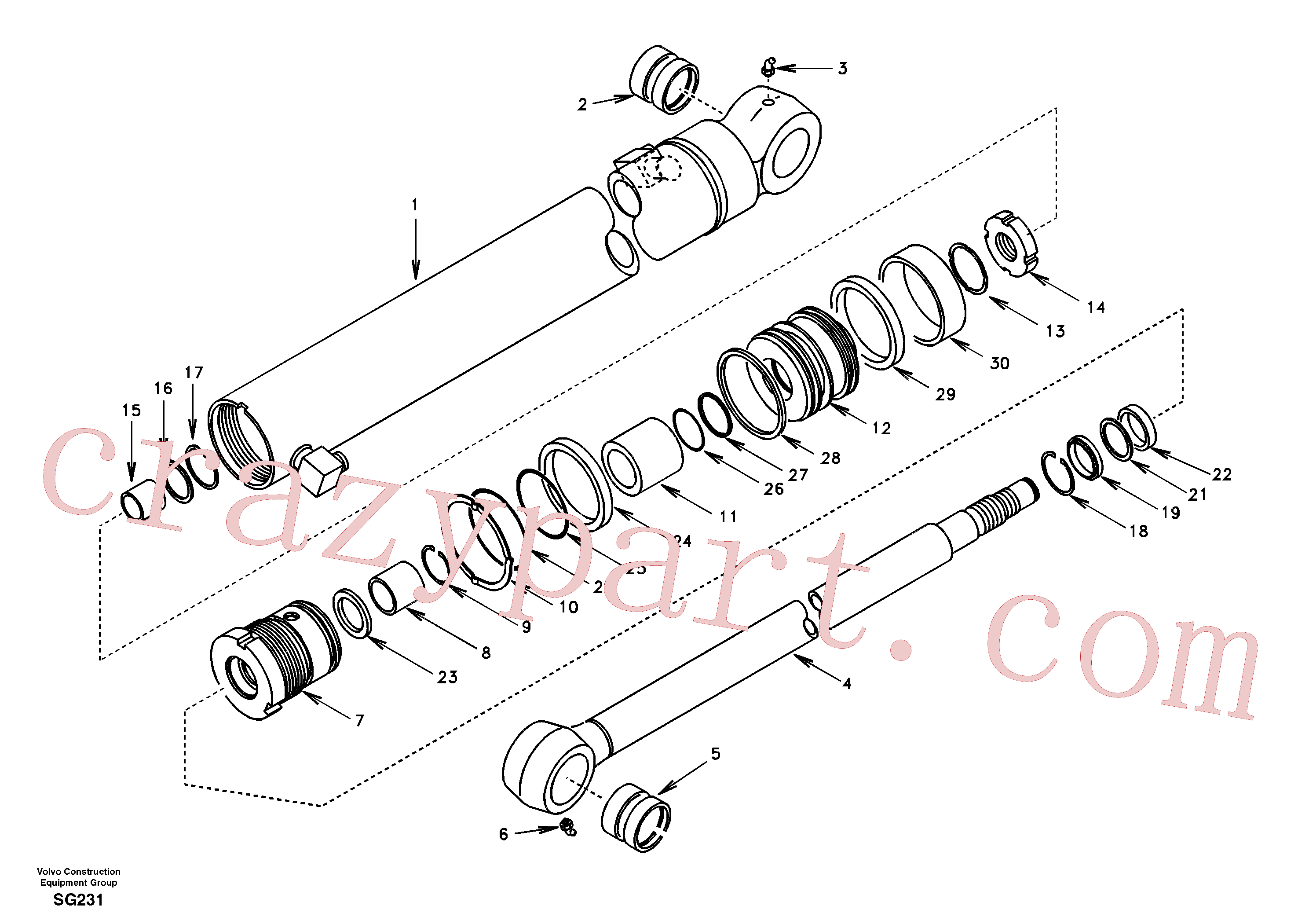 SA9612-05535 for Volvo Dipper arm cylinder(SG231 assembly)