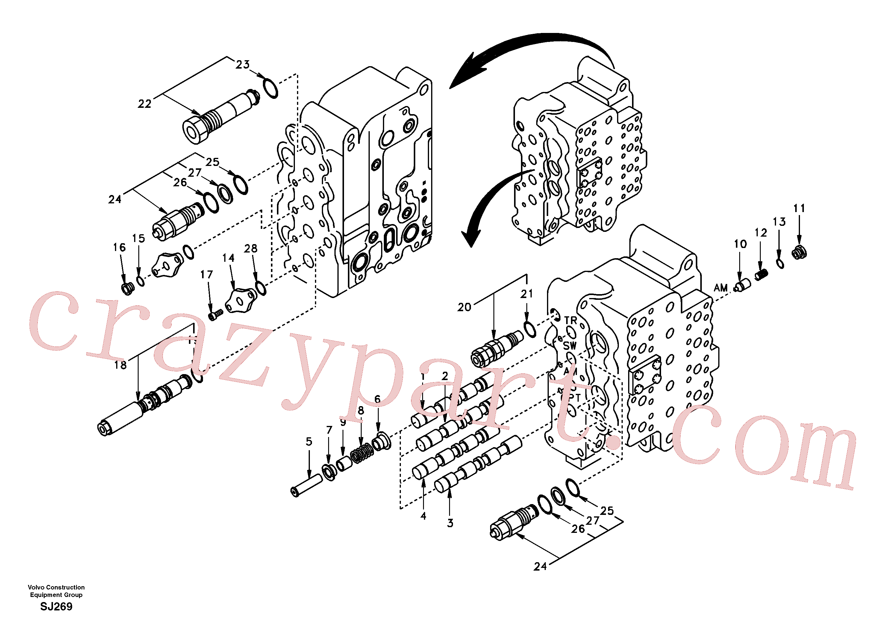 SA7270-11111 for Volvo Main control valve, swing and option and dipper arm and travel Lh(SJ269 assembly)