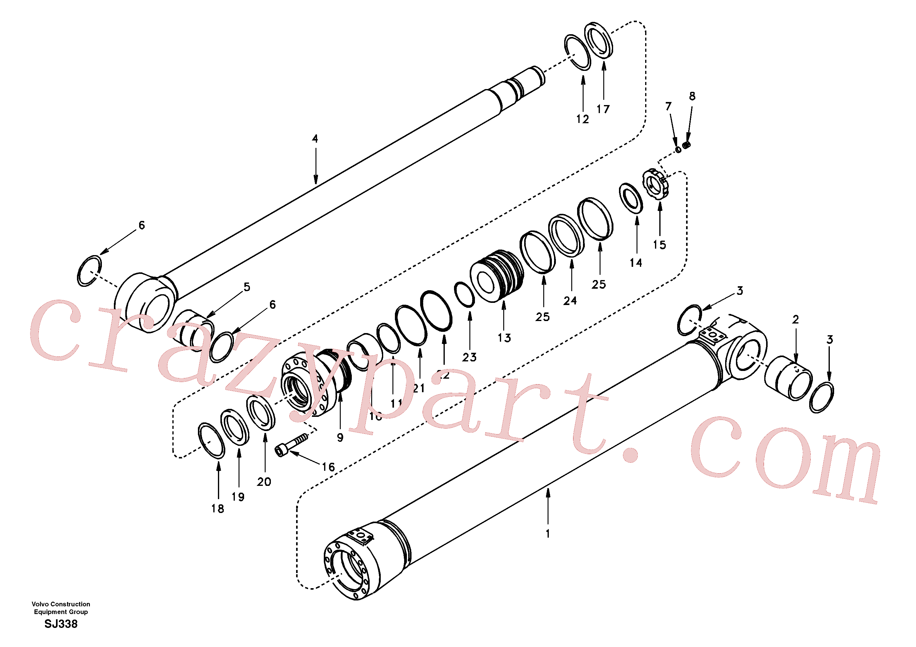 SA1146-04930 for Volvo Boom cylinder 2nd boom(SJ338 assembly)
