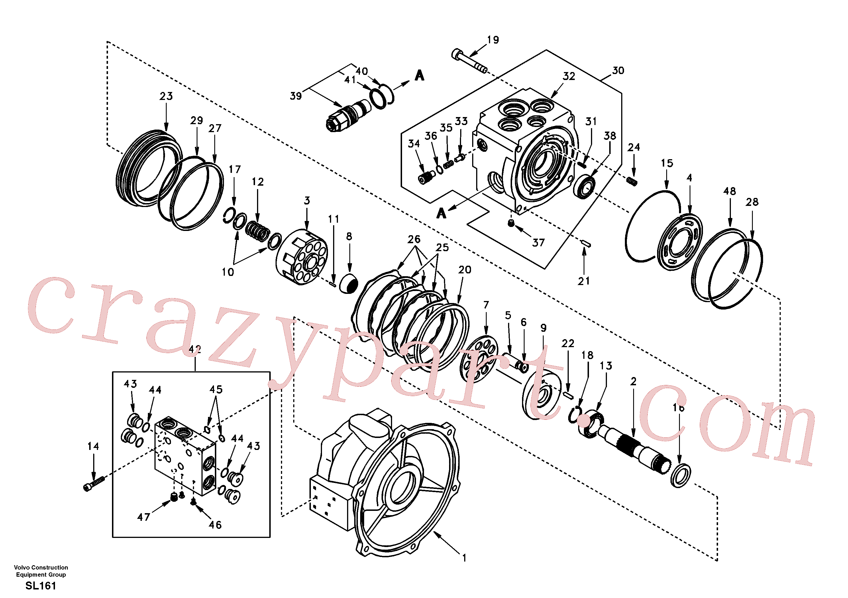 SA9511-22115 for Volvo Swing motor(SL161 assembly)