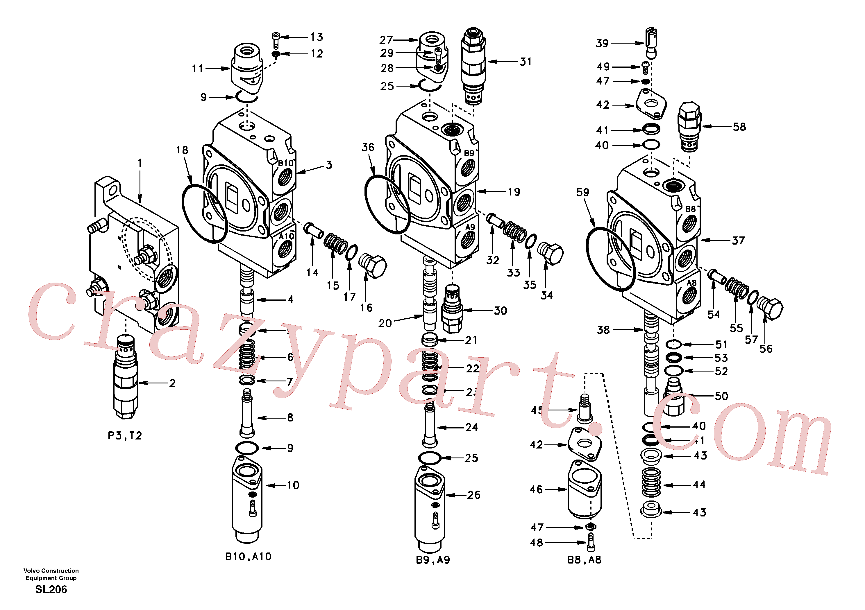 SA7250-21711 for Volvo Main control valve, inlet and boom and boom swing(SL206 assembly)