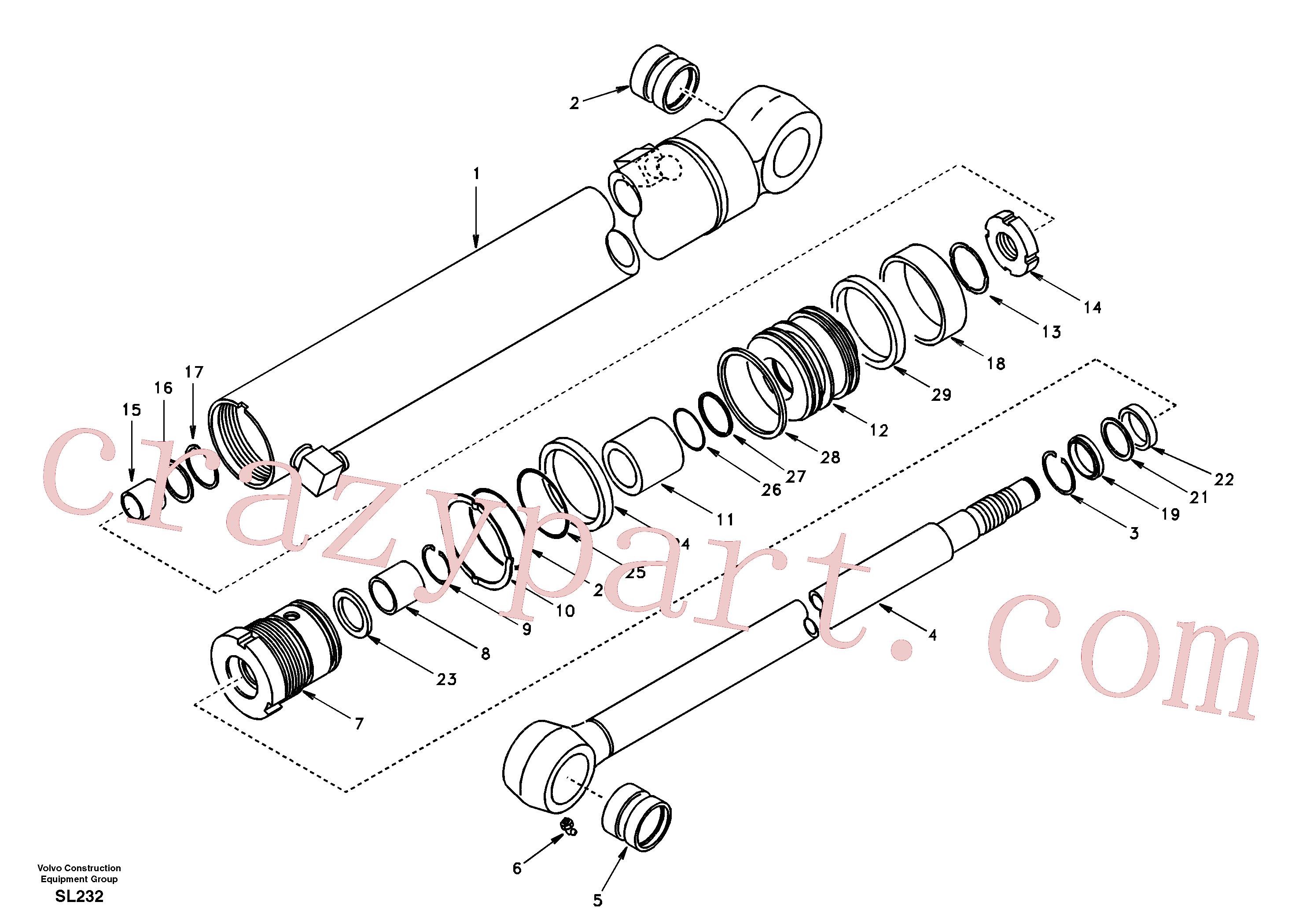 SA9612-05535 for Volvo Dipper arm cylinder(SL232 assembly)