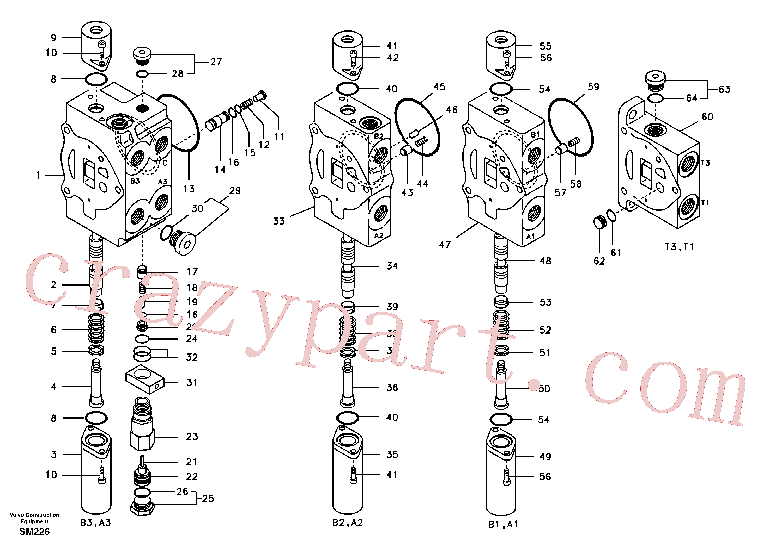 VOE14667608 for Volvo Main control valve, boom 1 and bucket and dipper arm 2 and outlet.(SM226 assembly)