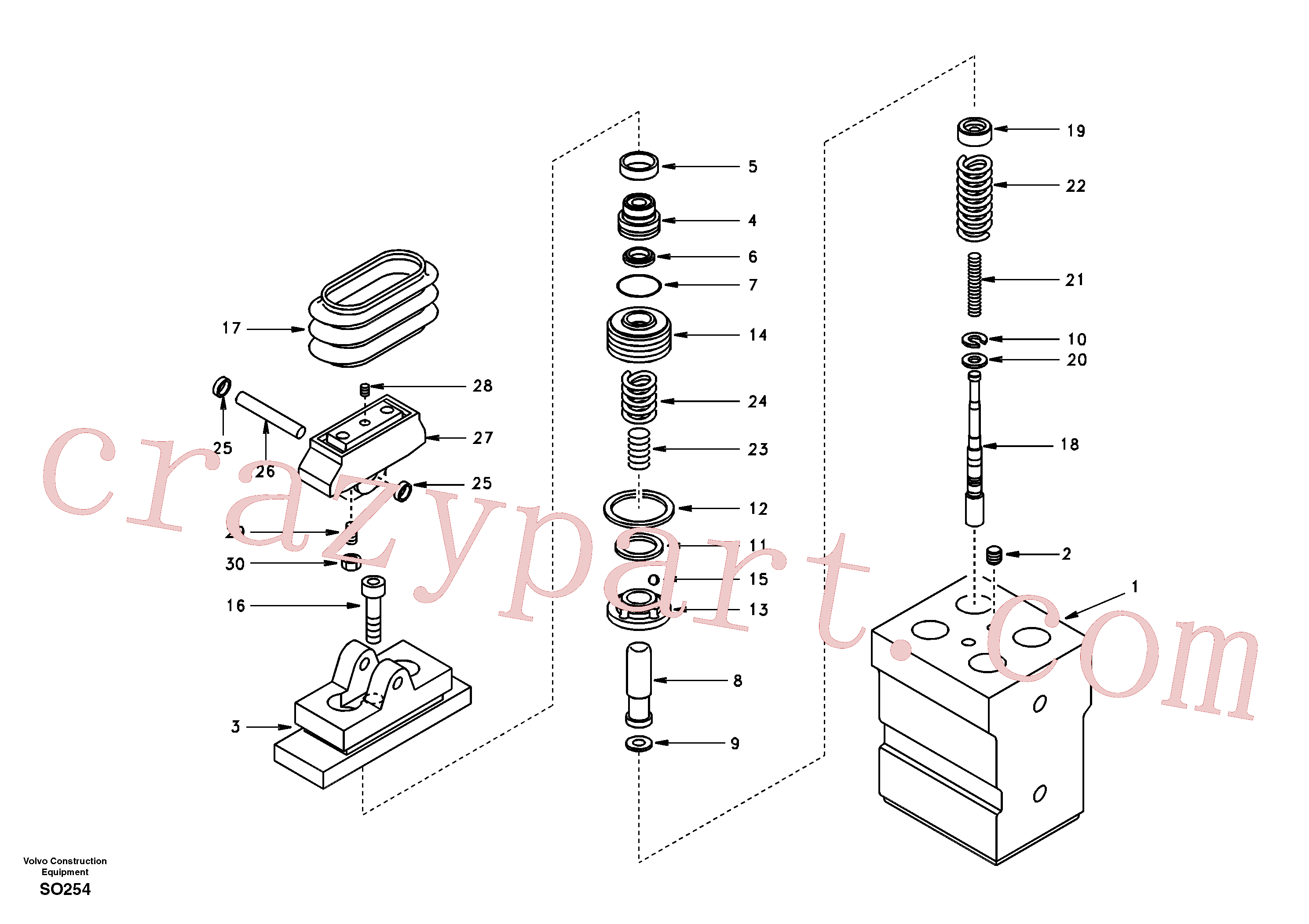 SA8230-25440 for Volvo Remote control valve pedal, travel motor(SO254 assembly)