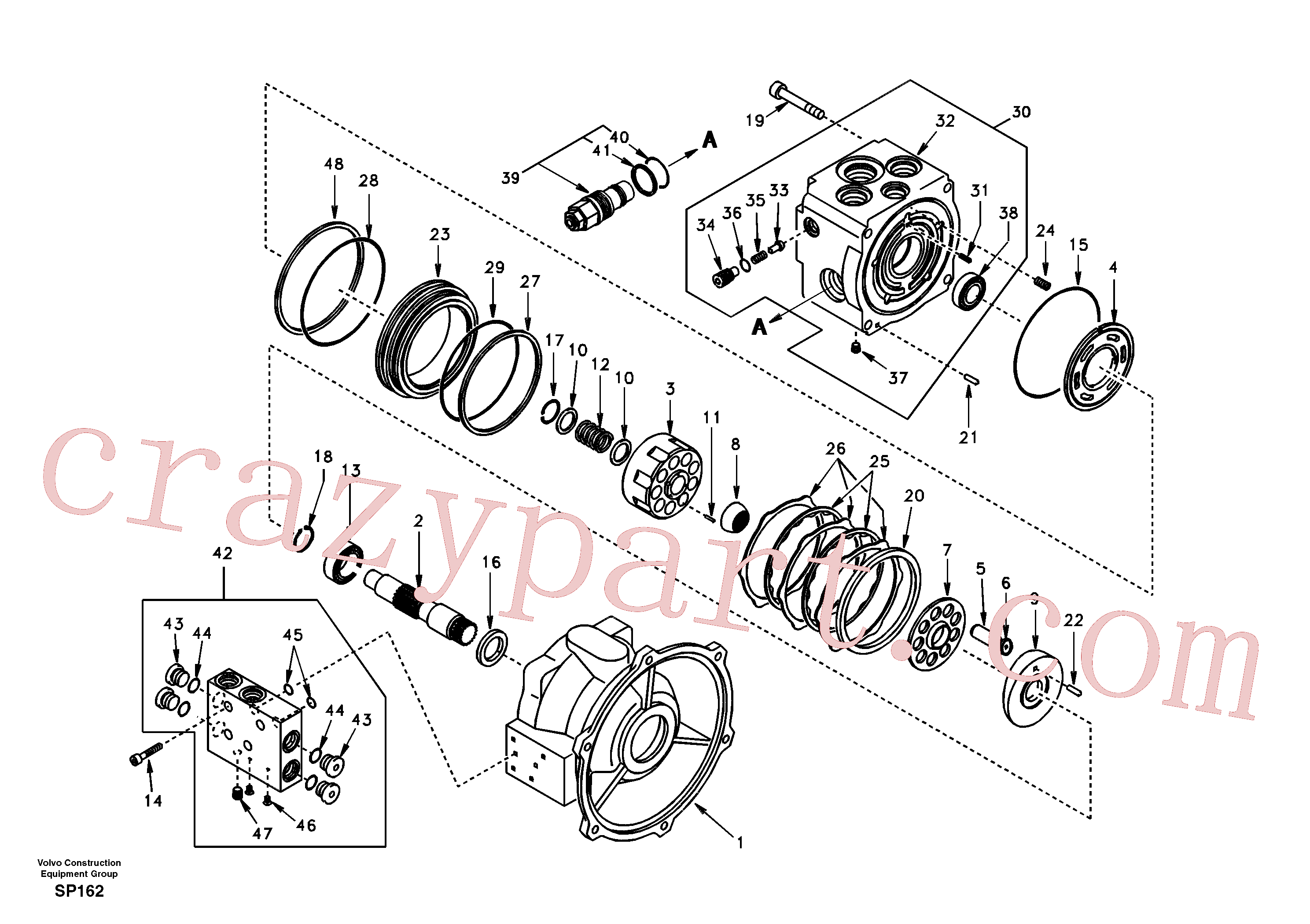 SA9511-22115 for Volvo Swing motor(SP162 assembly)