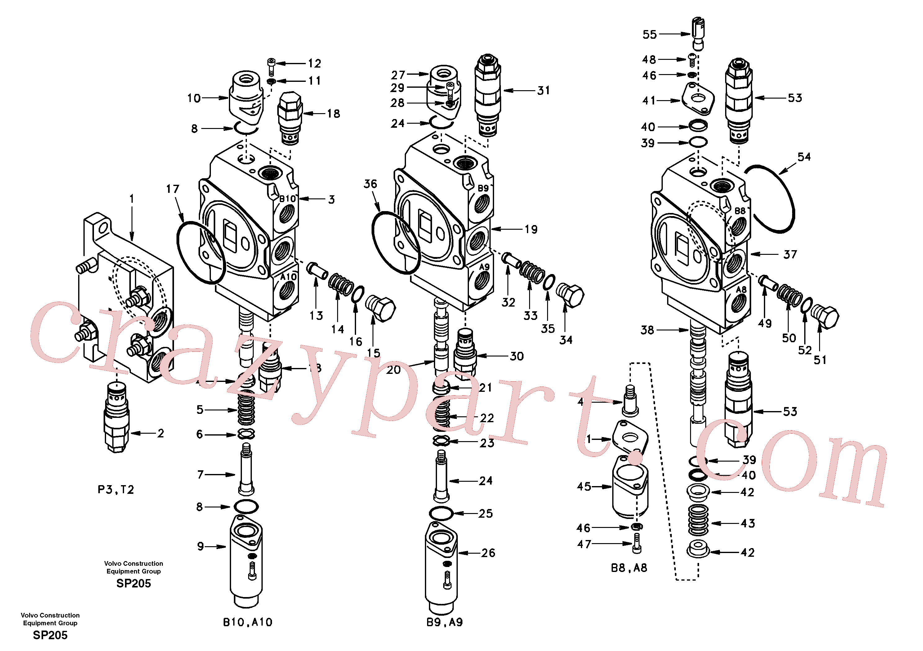 SA7250-21711 for Volvo Main control valve, inlet and boom and boom swing(SP205 assembly)