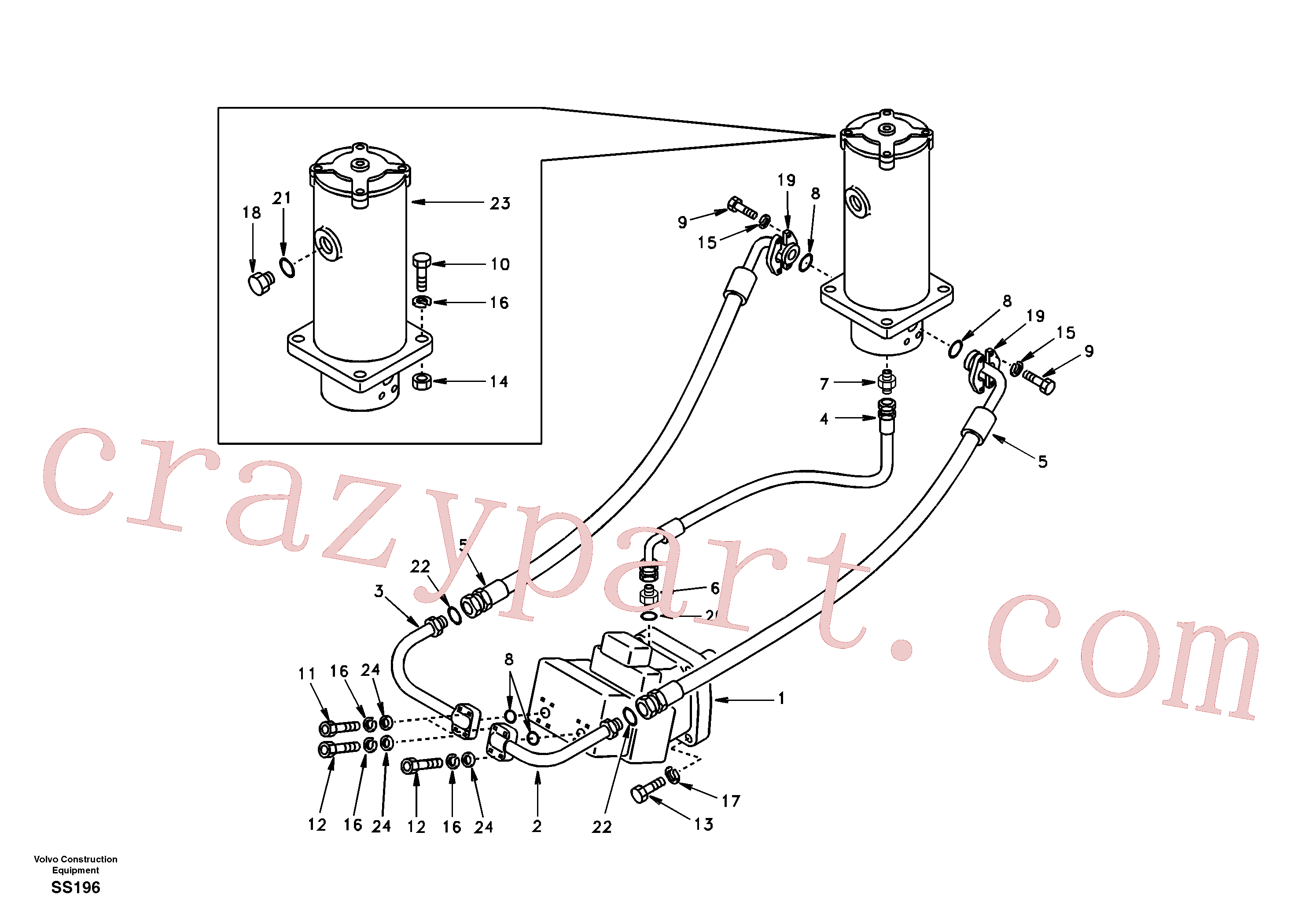 SA9011-21209 for Volvo Turning joint line, turning joint to travel motor(SS196 assembly)
