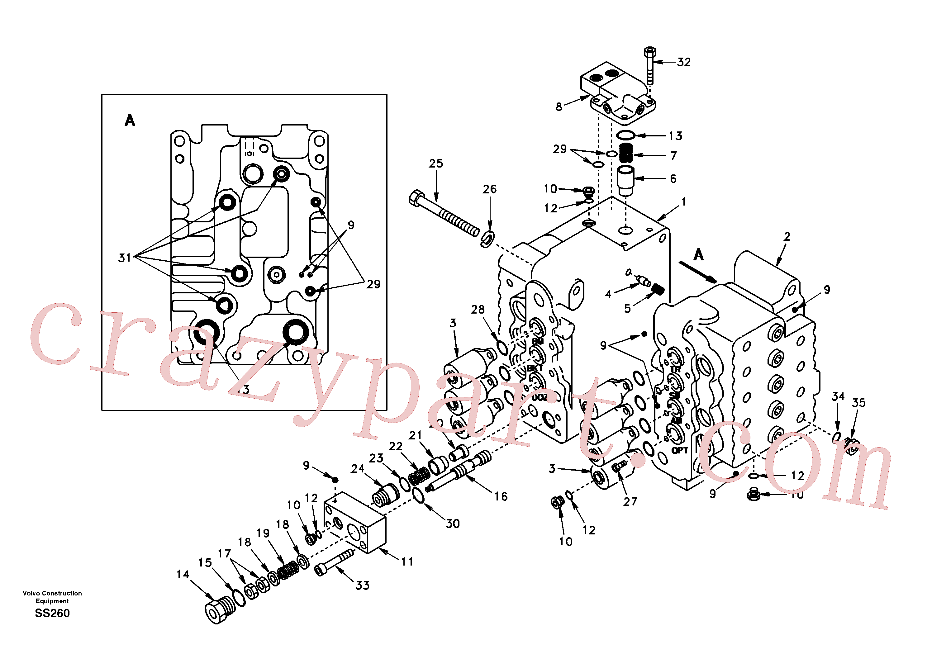 SA7273-11030 for Volvo Control valve with fitting parts.(SS260 assembly)