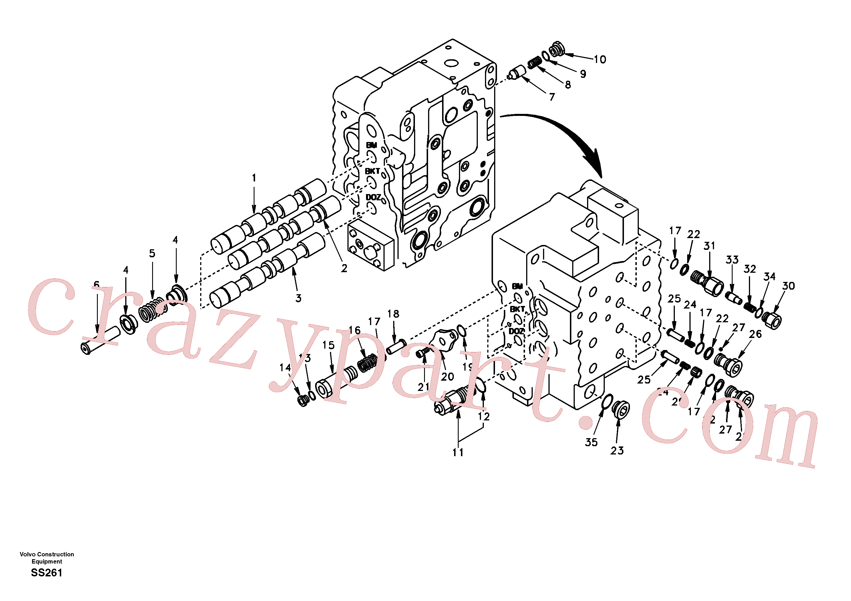 SA7273-11250 for Volvo Main control valve, boom and bucket and travel Rh(SS261 assembly)