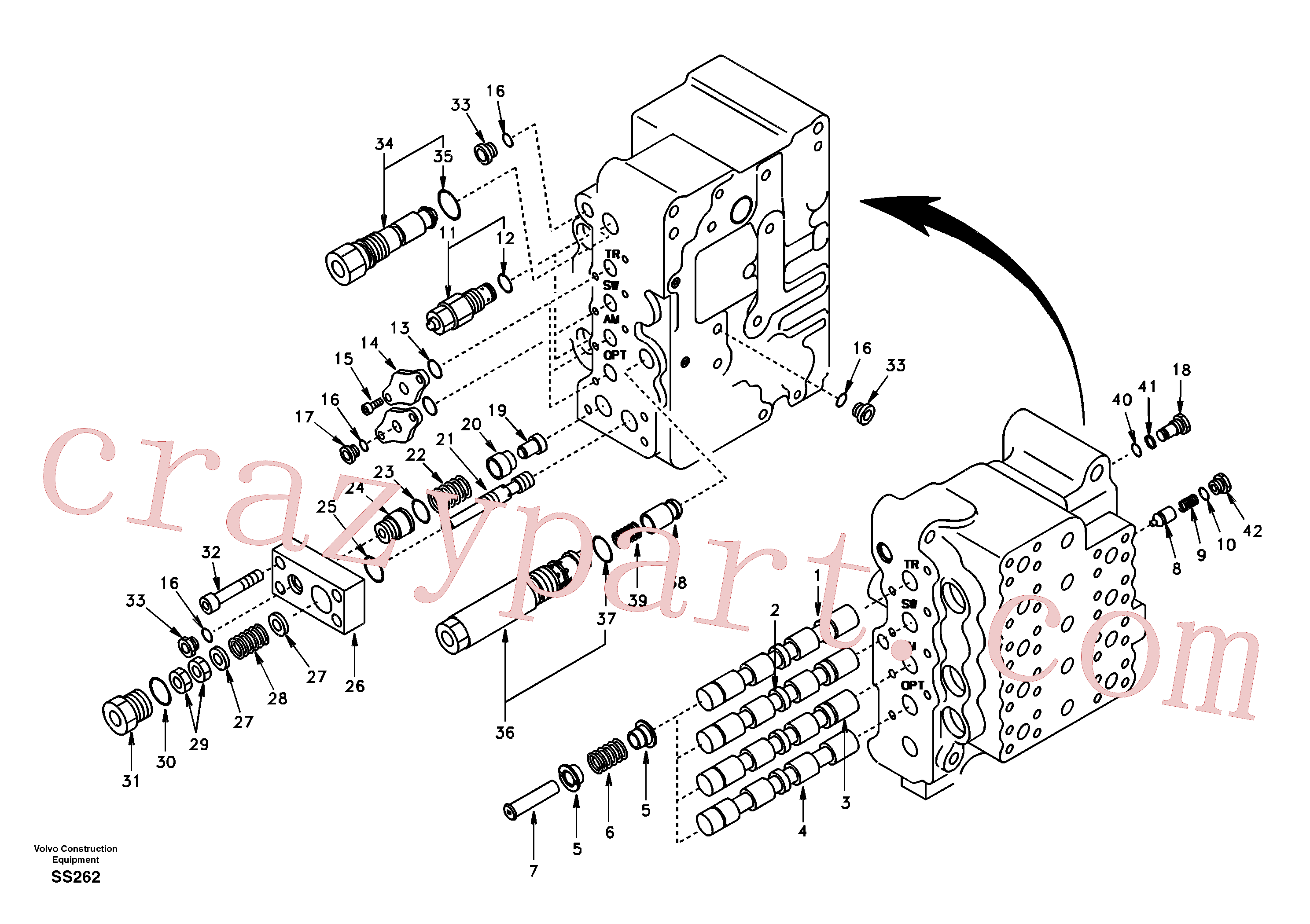 SA7273-11350 for Volvo Main control valve, swing and option and dipper arm and travel Lh(SS262 assembly)