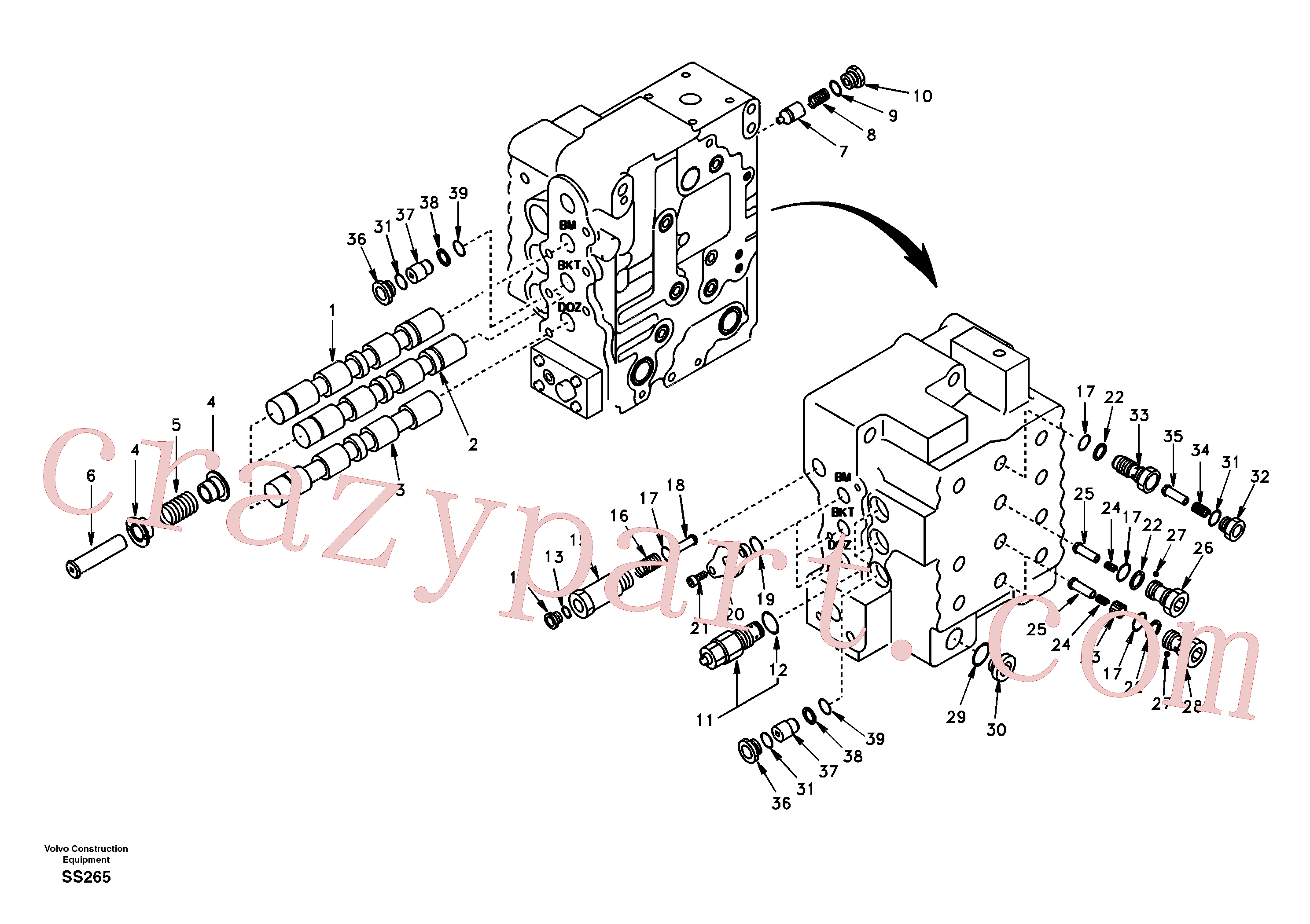 SA9512-01011 for Volvo Main control valve, boom and bucket and travel Rh(SS265 assembly)