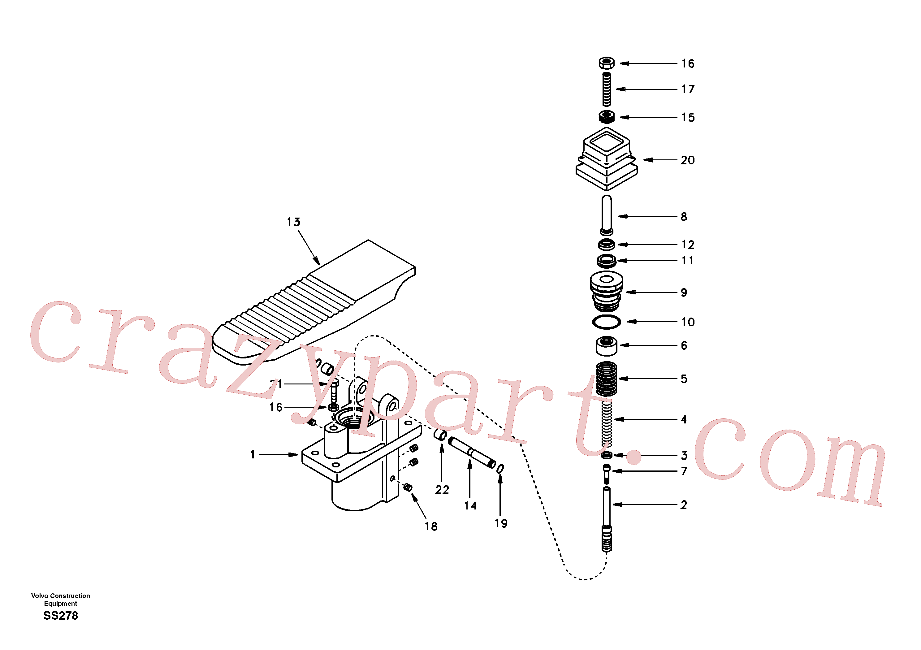 SA7263-00171 for Volvo Remote control valve pedal, travel motor(SS278 assembly)