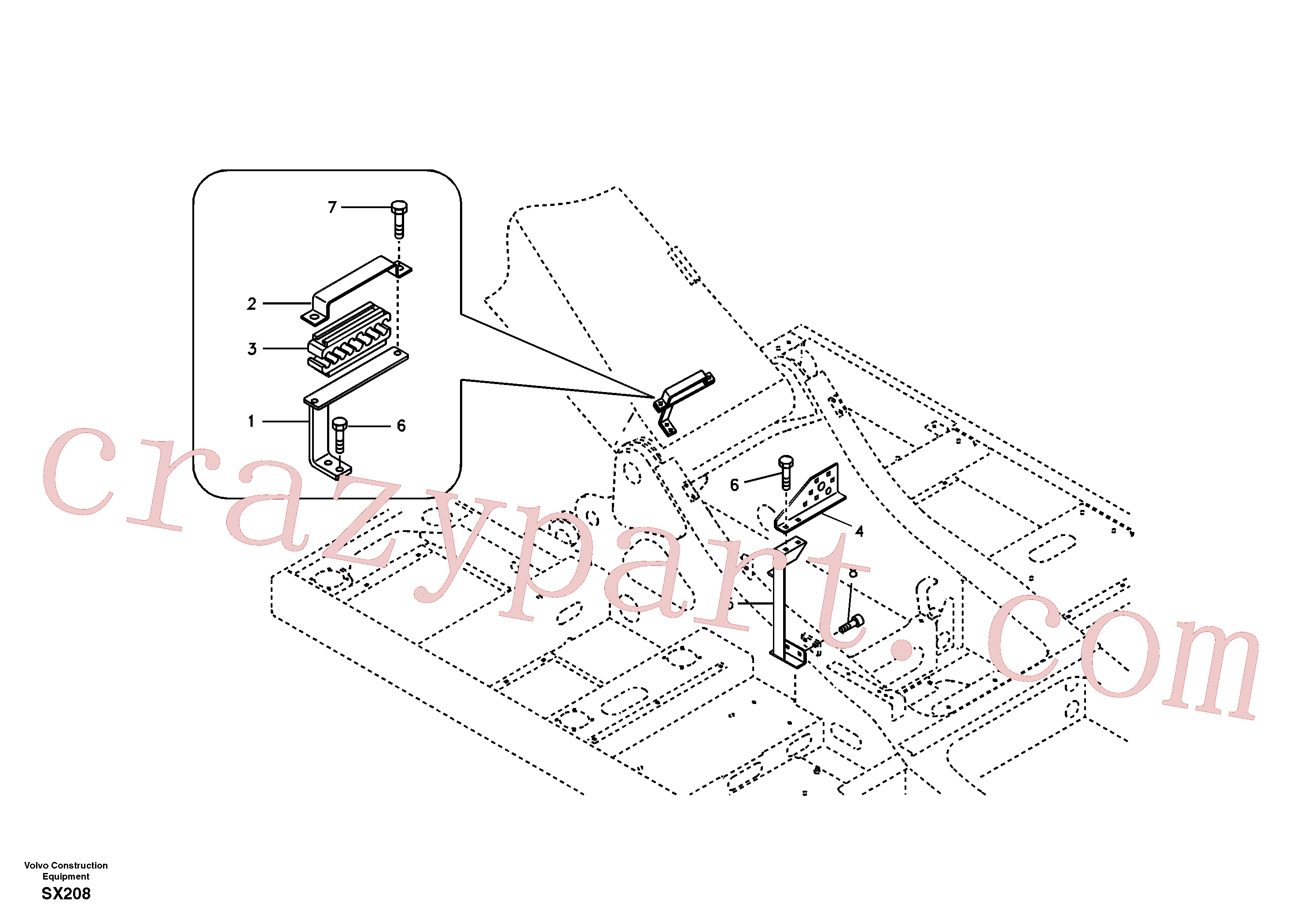 SA1174-58010 for Volvo Hydraulic lines bracket-quickfit, rotator, hose repture(SX208 assembly)