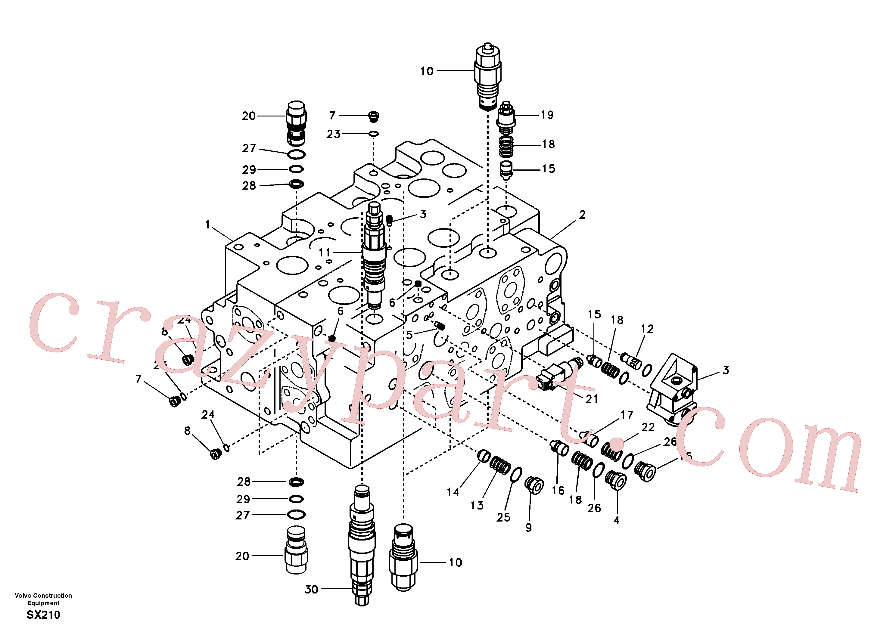 SA8230-36410 for Volvo Main control valve, relief valve and boom holding(SX210 assembly)