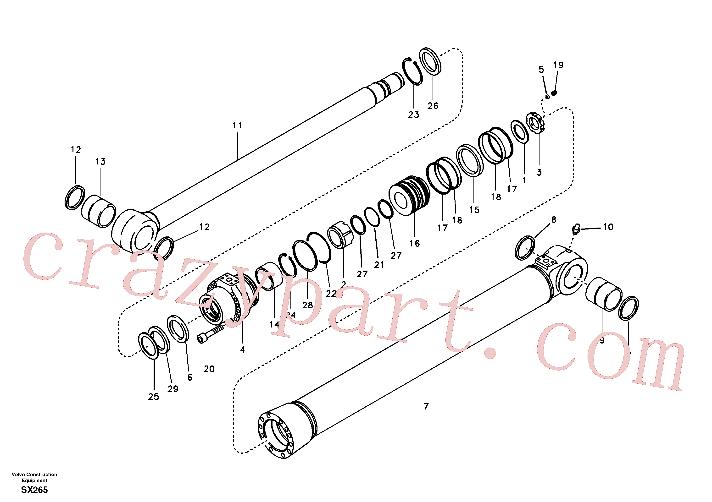 SA9556-10500 for Volvo Boom cylinder(SX265 assembly)