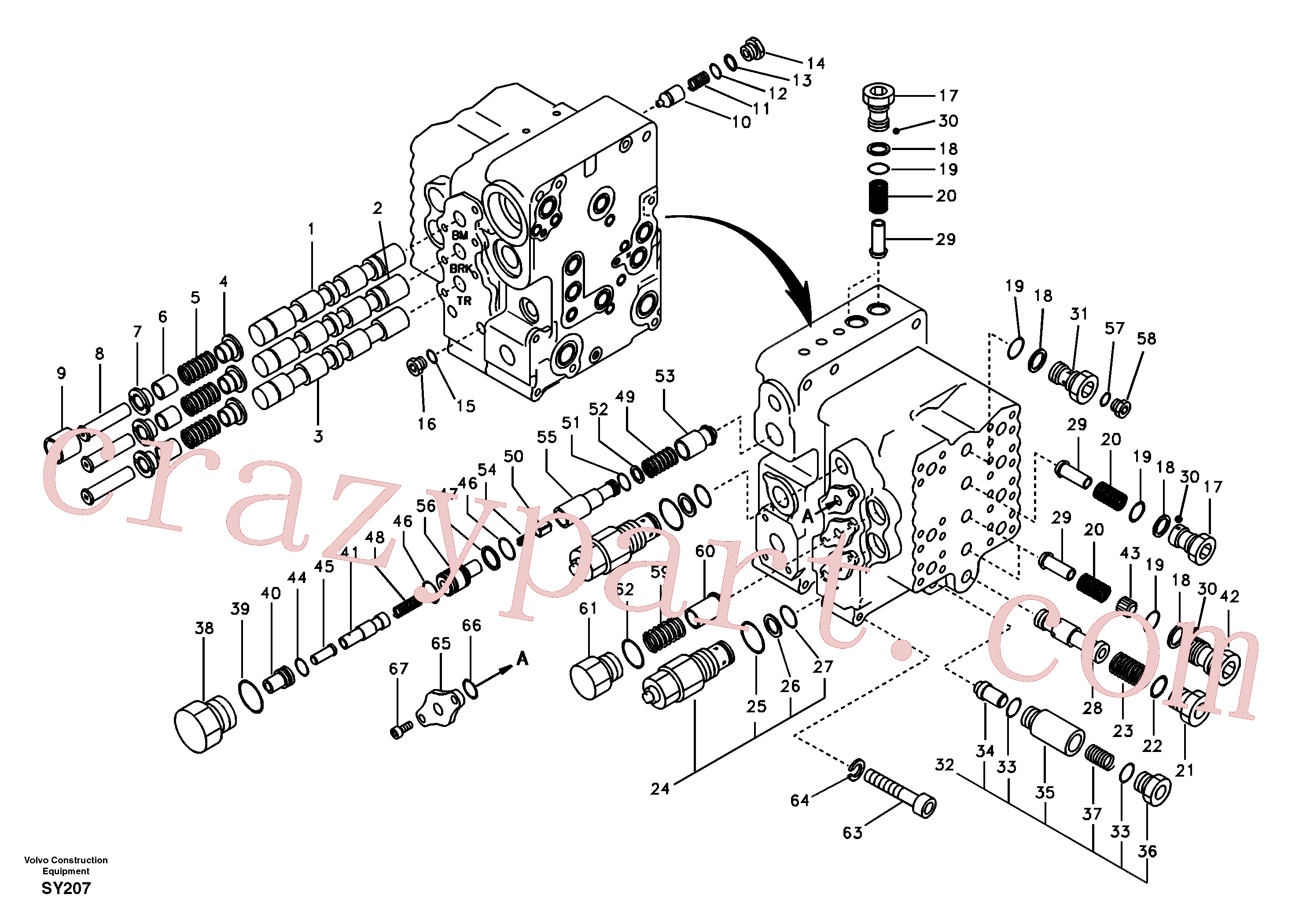 SA8230-11890 for Volvo Main control valve, boom and bucket and travel Rh(SY207 assembly)