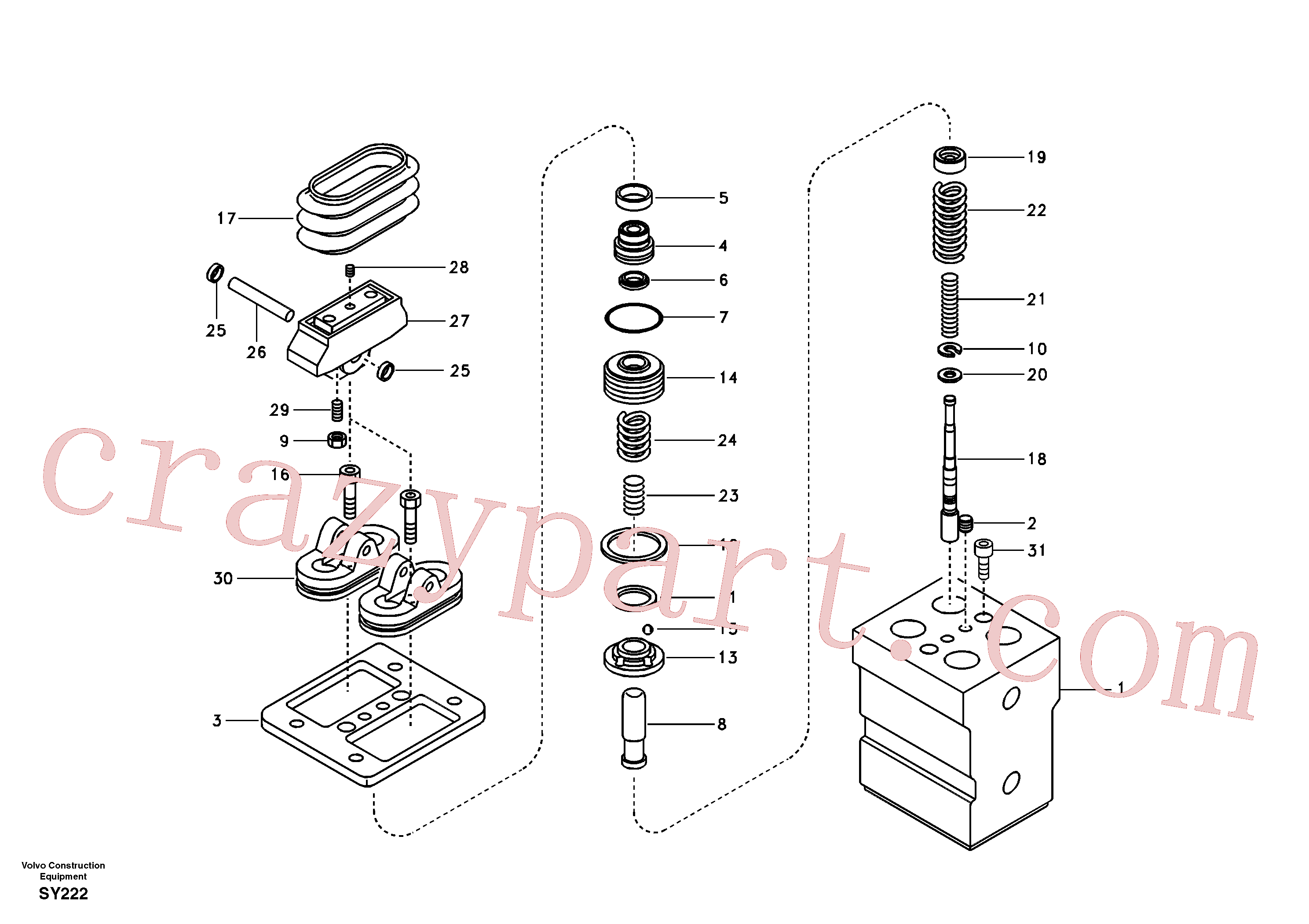 VOE14516639 for Volvo Remote control valve pedal, travel motor(SY222 assembly)