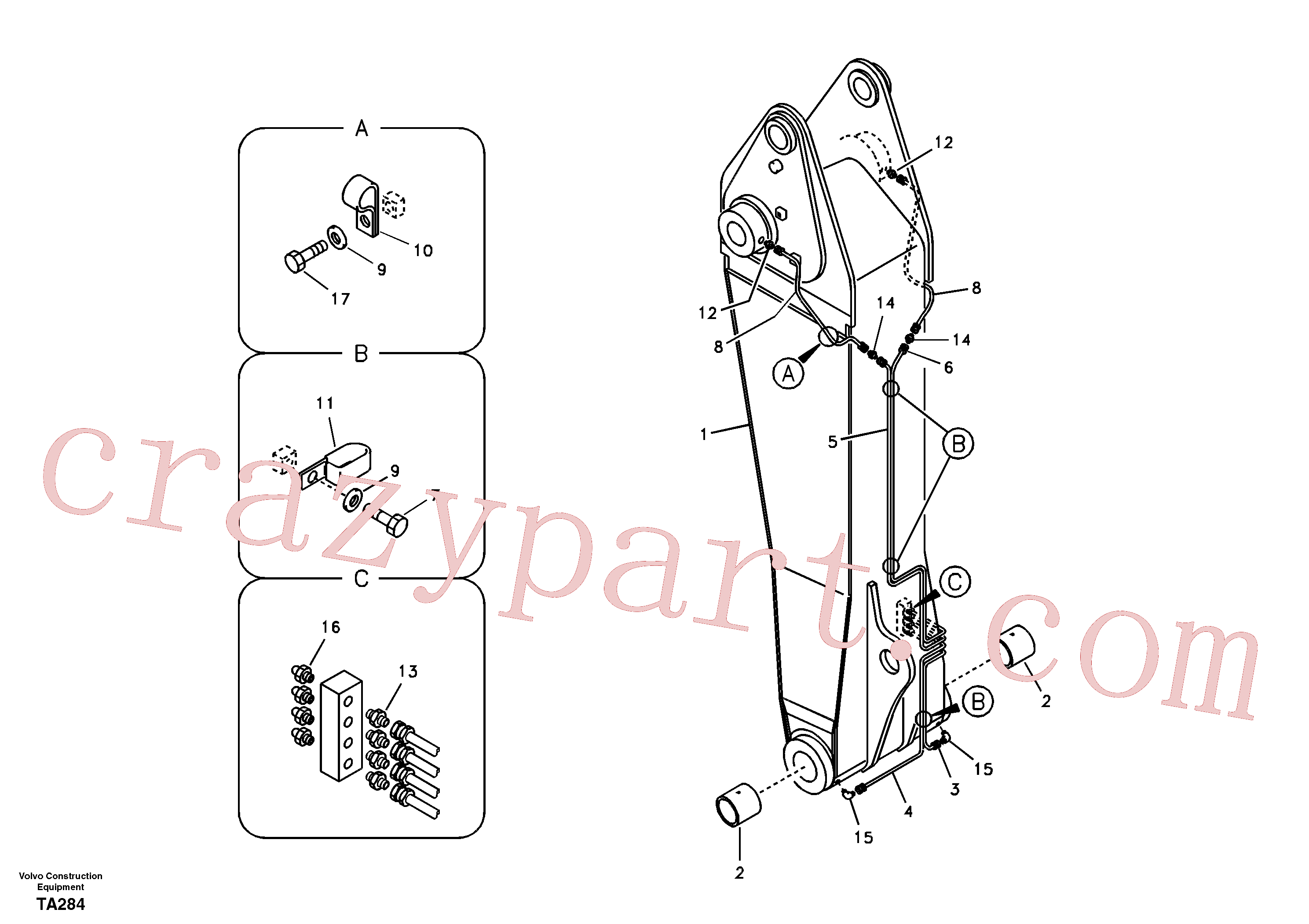 VOE14563081 for Volvo Boom and grease piping, adjustable 1st(TA284 assembly)